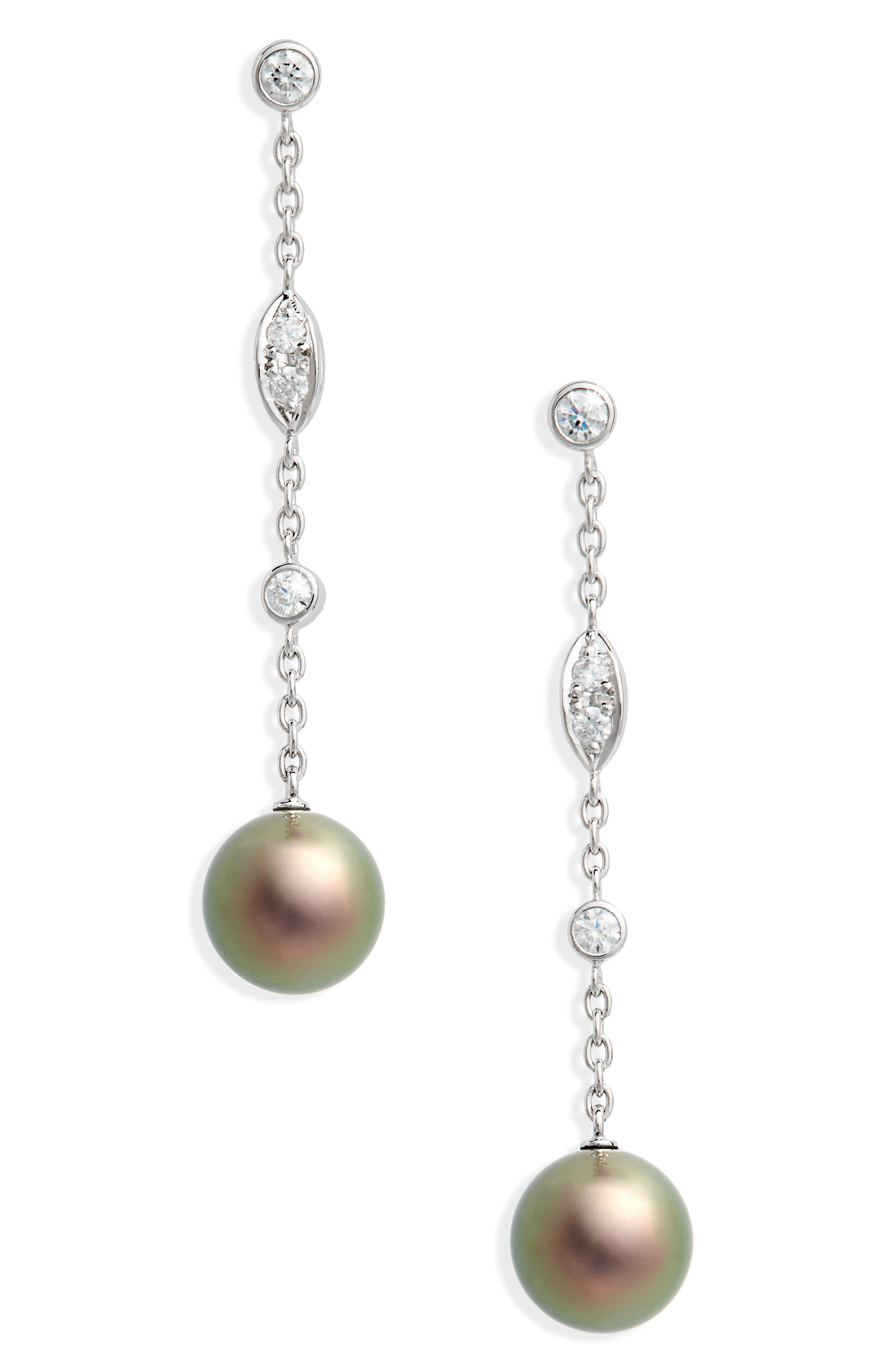 Black South Sea & Diamond Linear Drop Earrings,                             Main thumbnail 1, color,                             White Gold