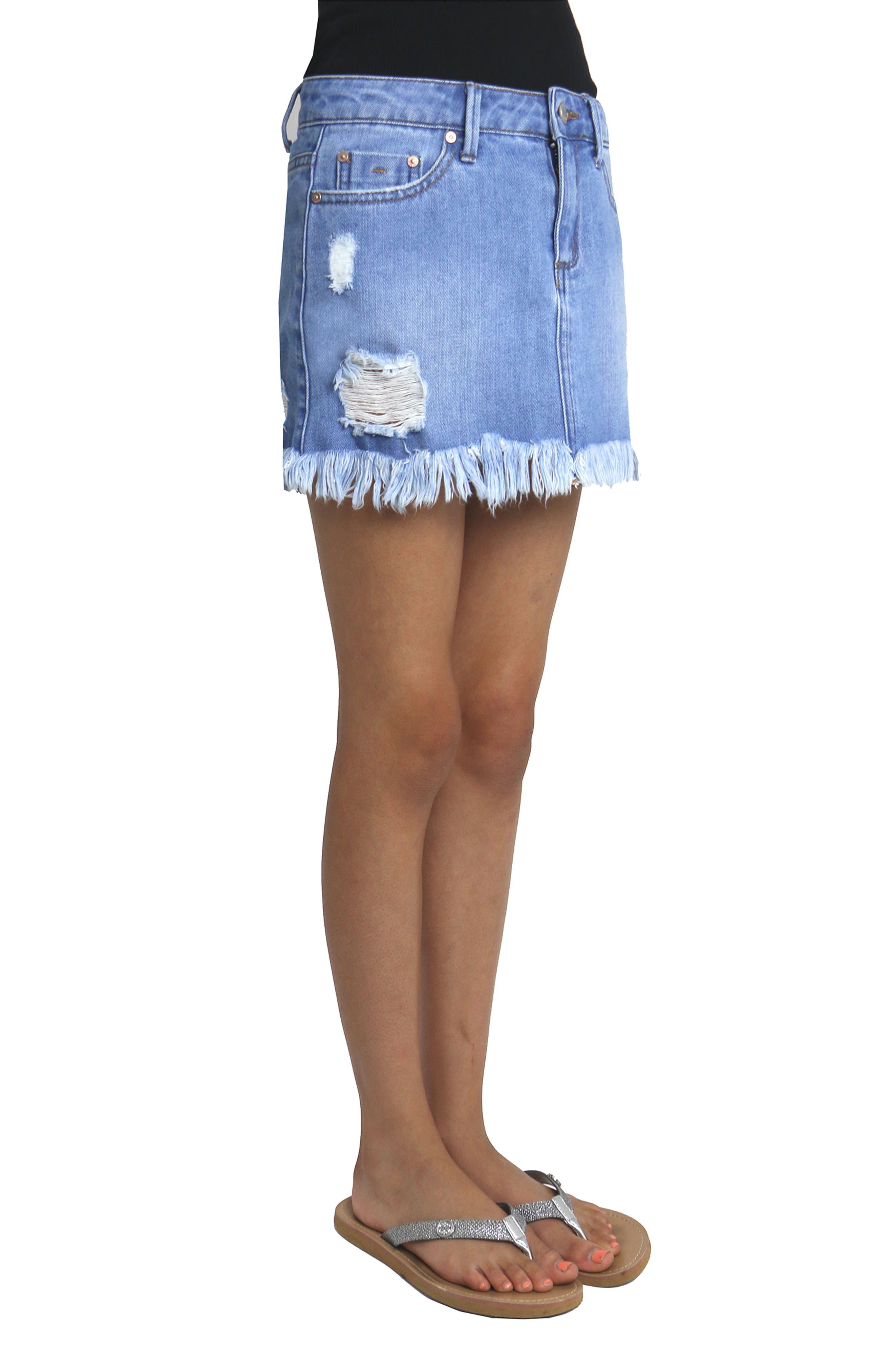 Alternate Image 4  - Tractr Distressed Denim Skirt (Big Girls)