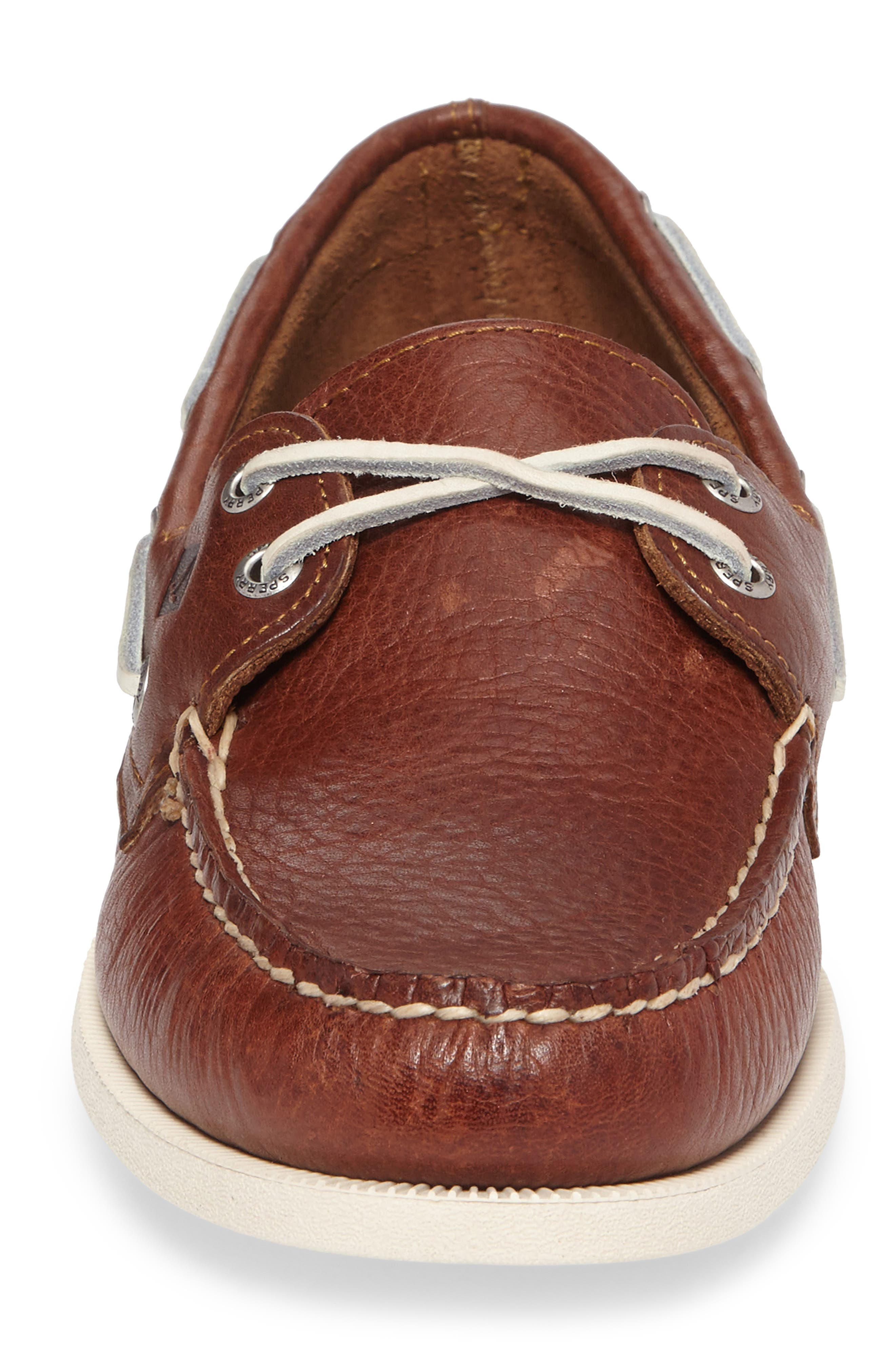 Authentic Original Boat Shoe,                             Alternate thumbnail 5, color,                             Brown Leather