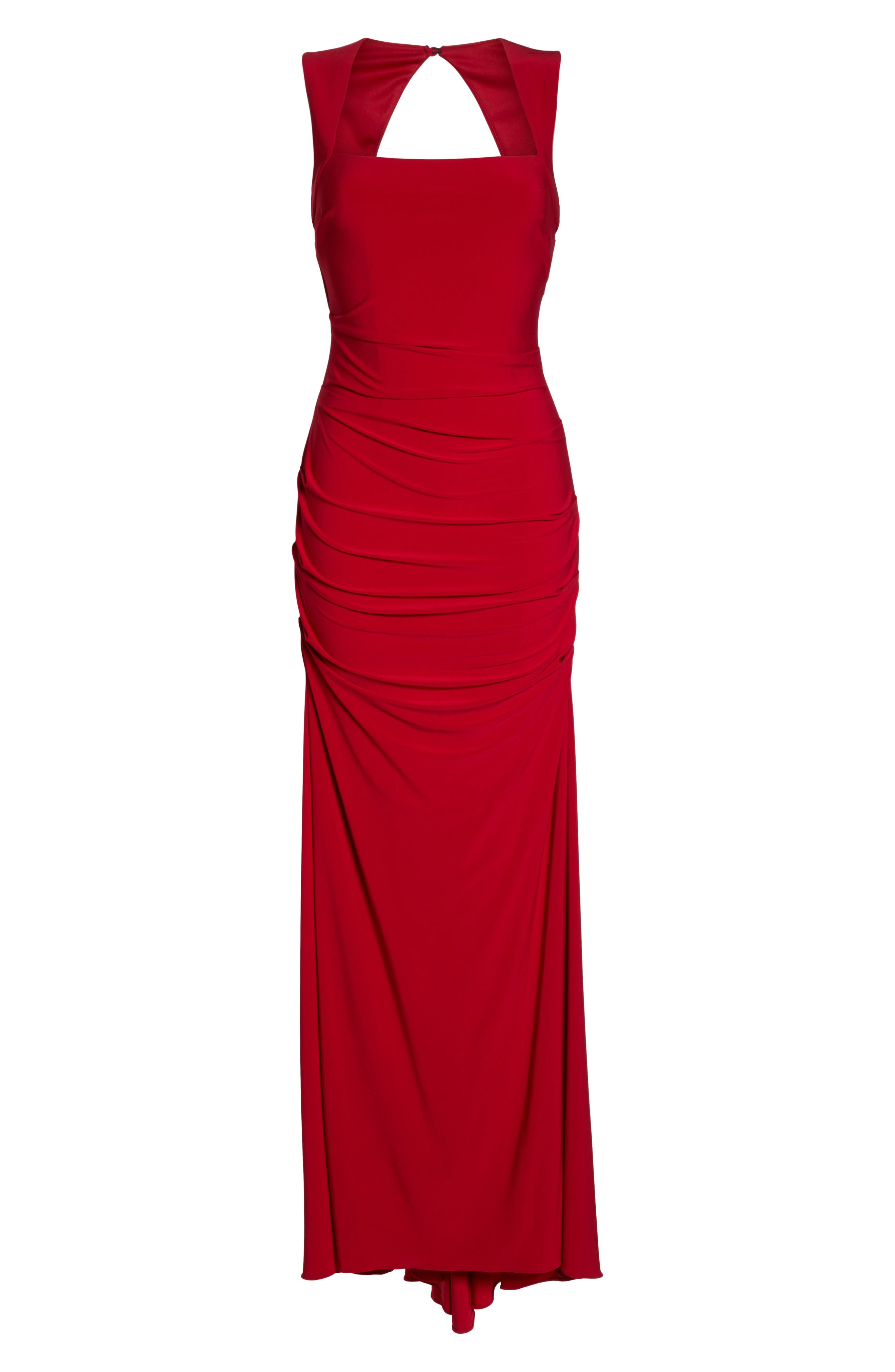 Square Neck Ruched Gown,                             Alternate thumbnail 6, color,                             Cardinal