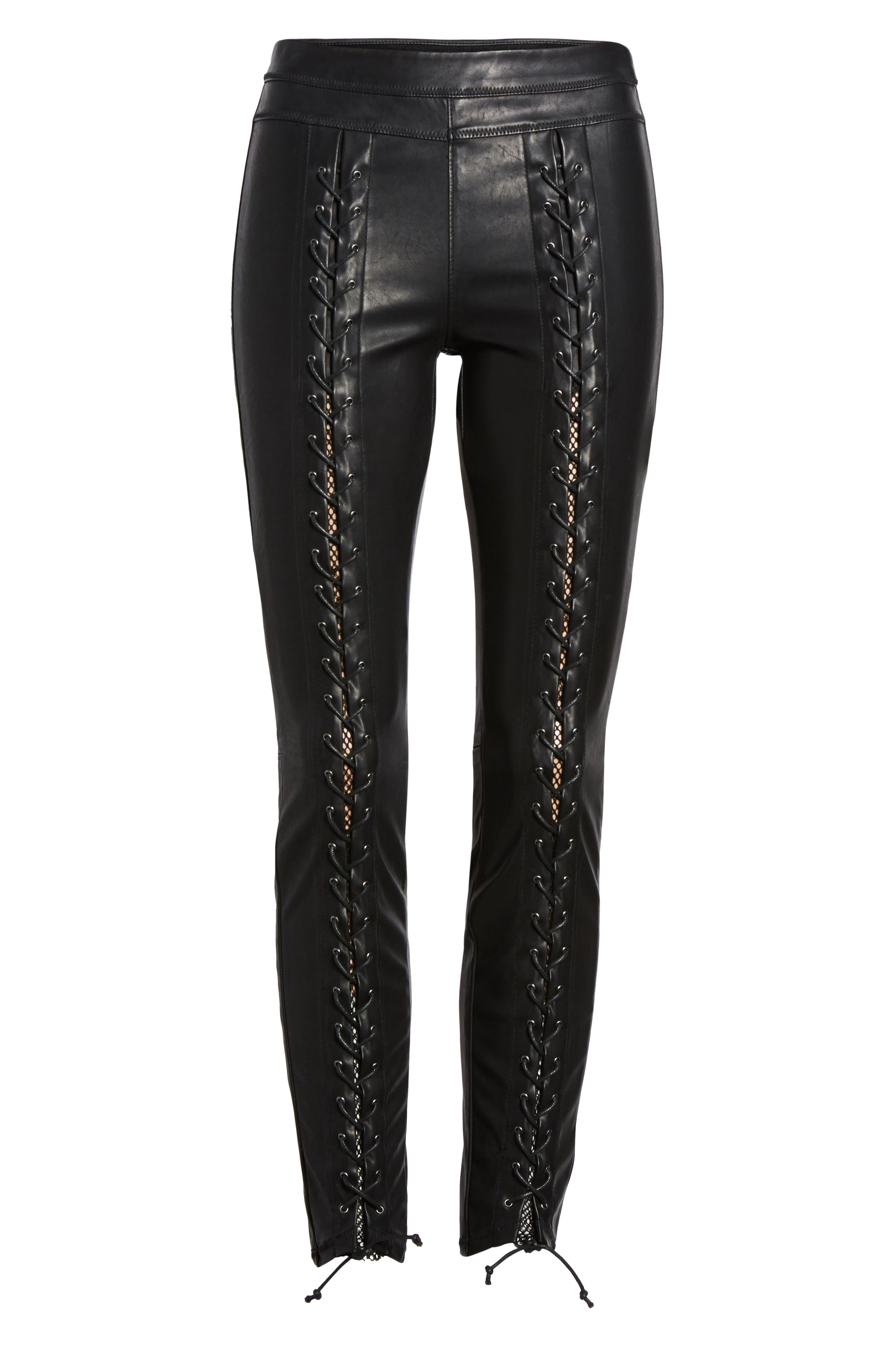 Lace-Up Faux Leather Pants,                             Alternate thumbnail 6, color,                             Easy Street