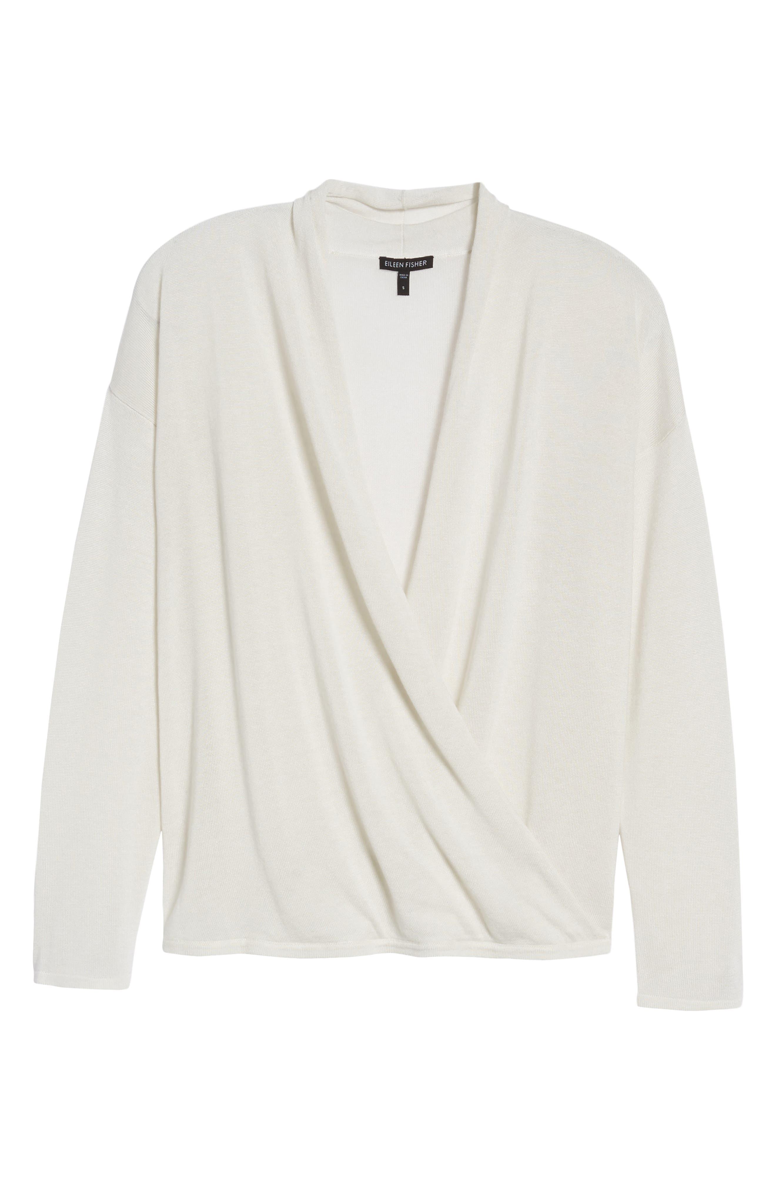 Faux Wrap Tencel<sup>®</sup> Lyocell & Merino Wool Sweater,                             Alternate thumbnail 6, color,                             Bone