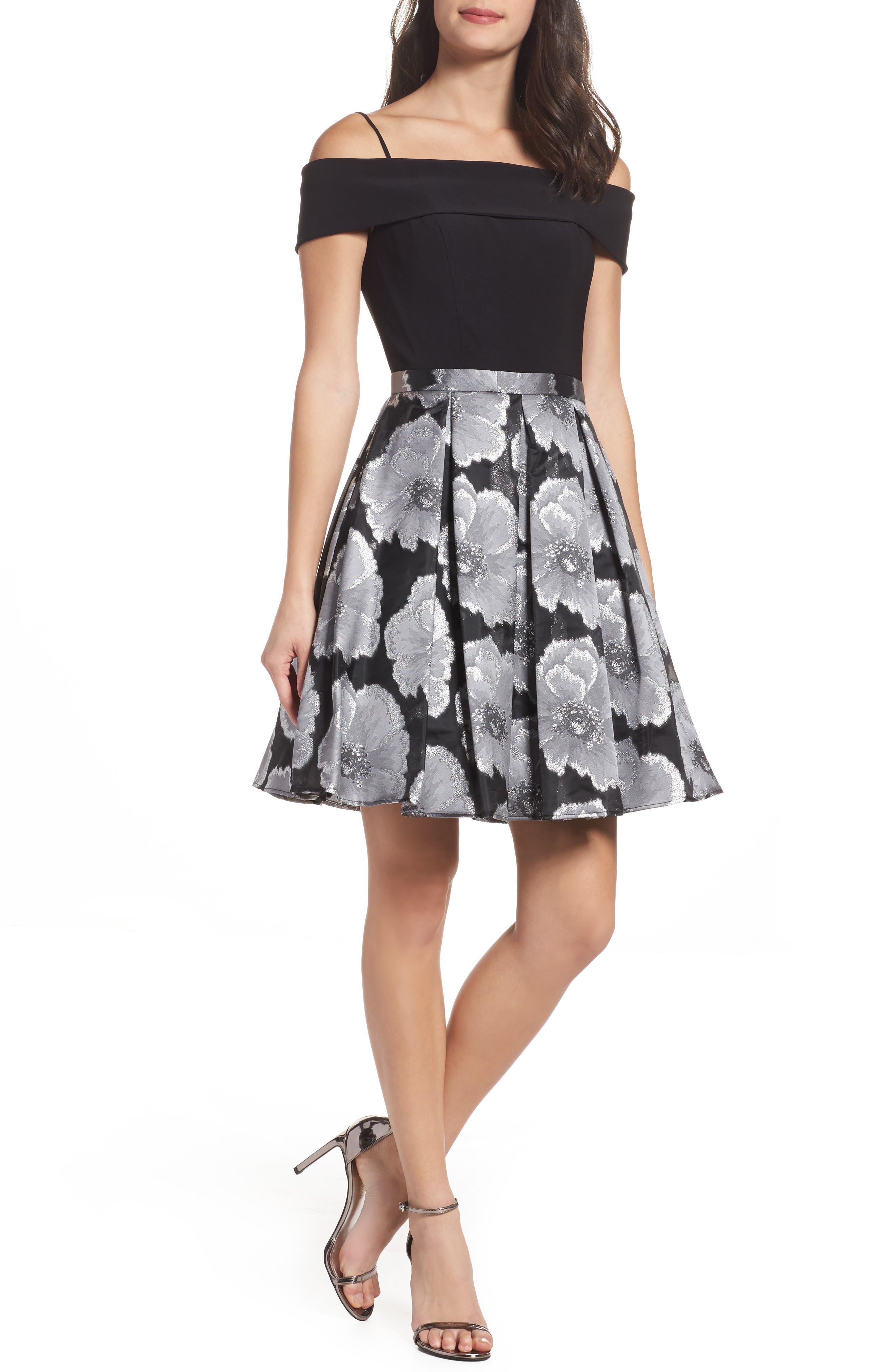 Mixed Media Off the Shoulder Dress,                         Main,                         color, Black/ Silver