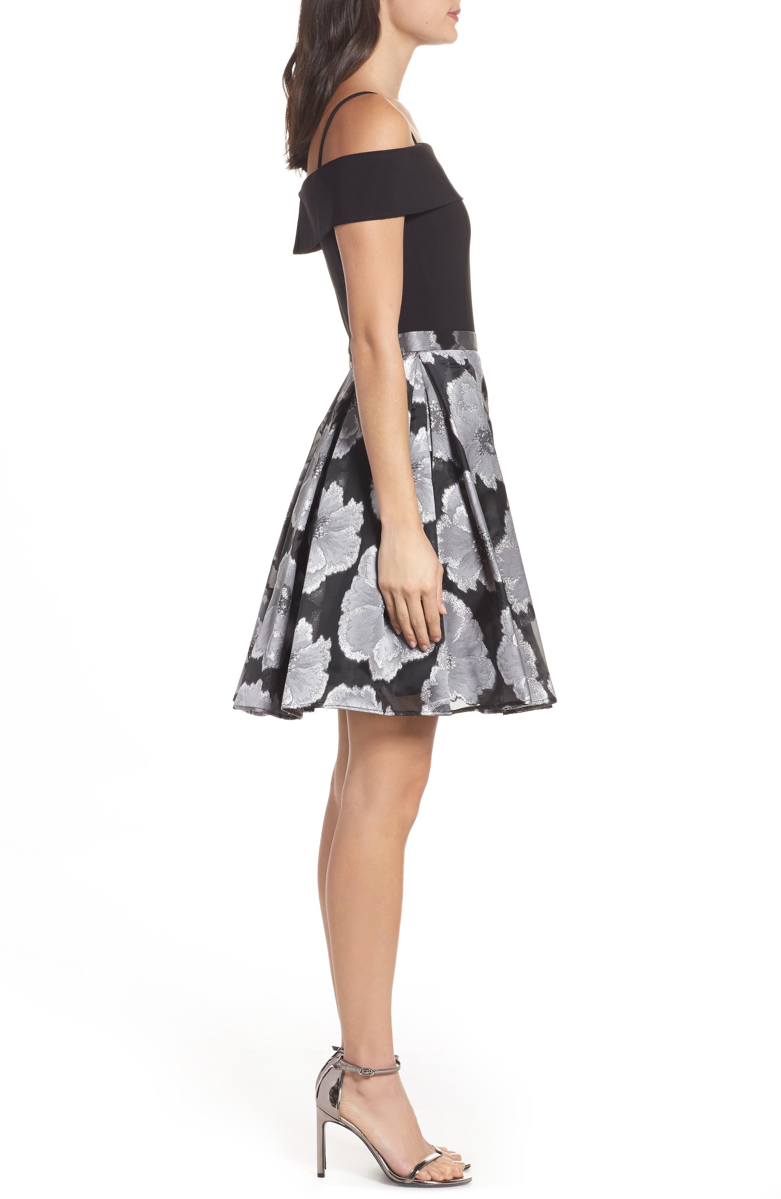 Mixed Media Off the Shoulder Dress,                             Alternate thumbnail 3, color,                             Black/ Silver