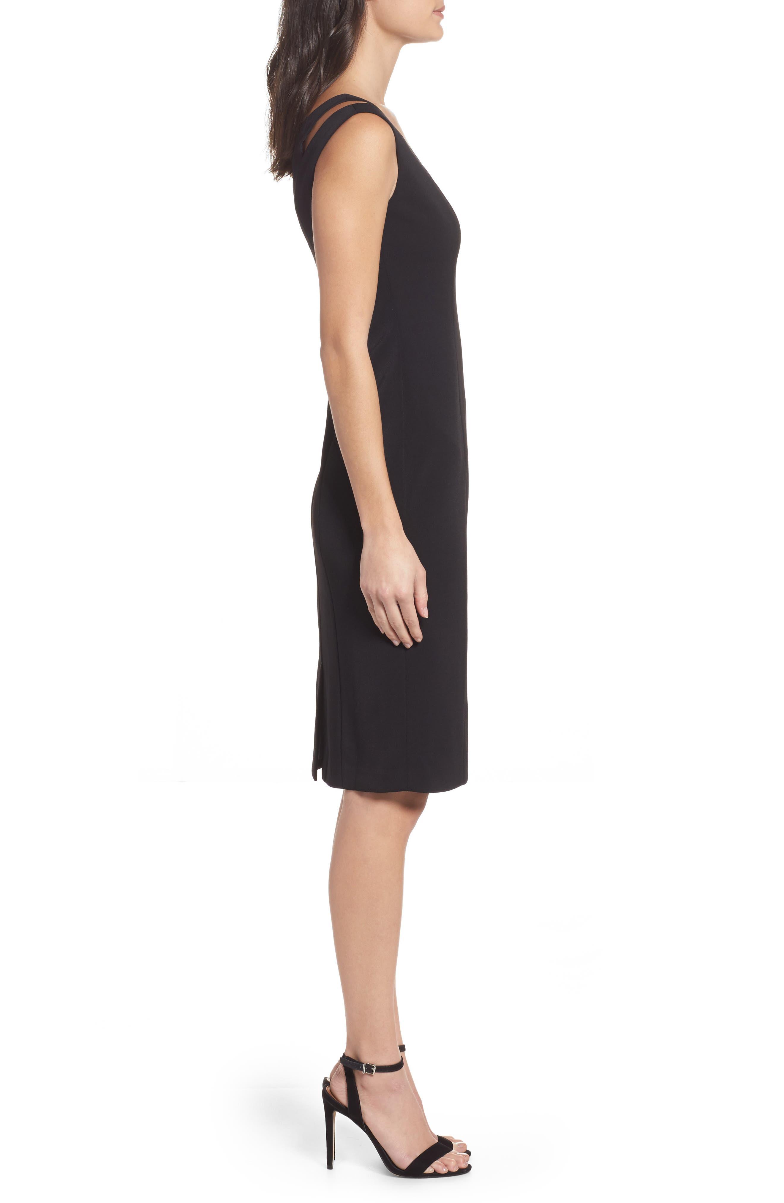 Cutout Shoulder Crepe Sheath Dress,                             Alternate thumbnail 3, color,                             Black