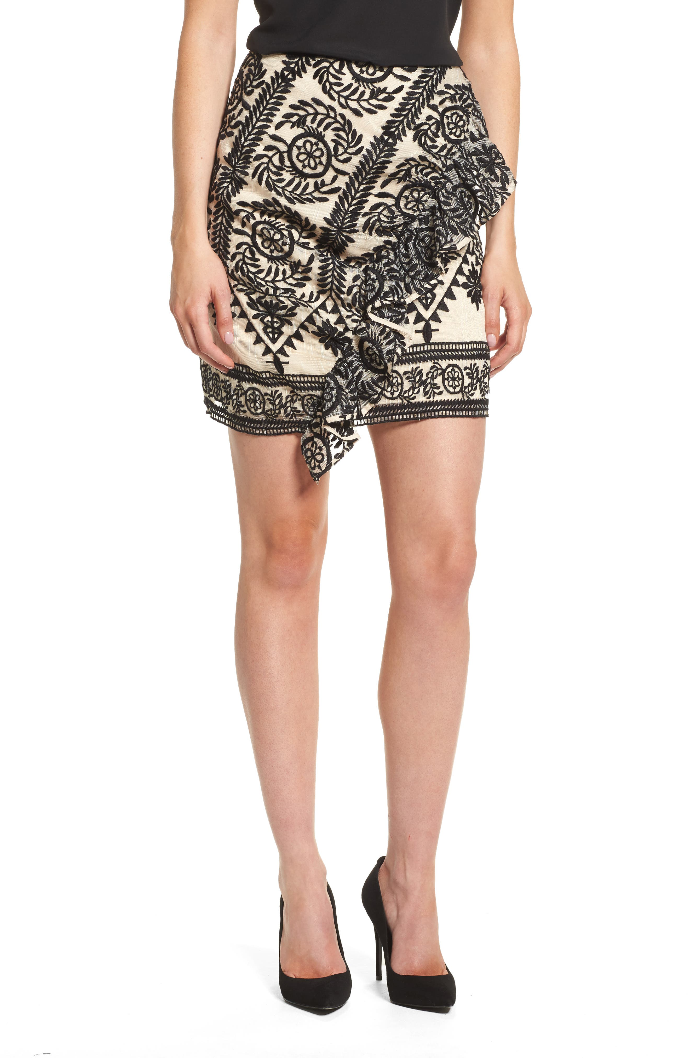 Soiree Ruffle Miniskirt,                             Main thumbnail 1, color,                             Black