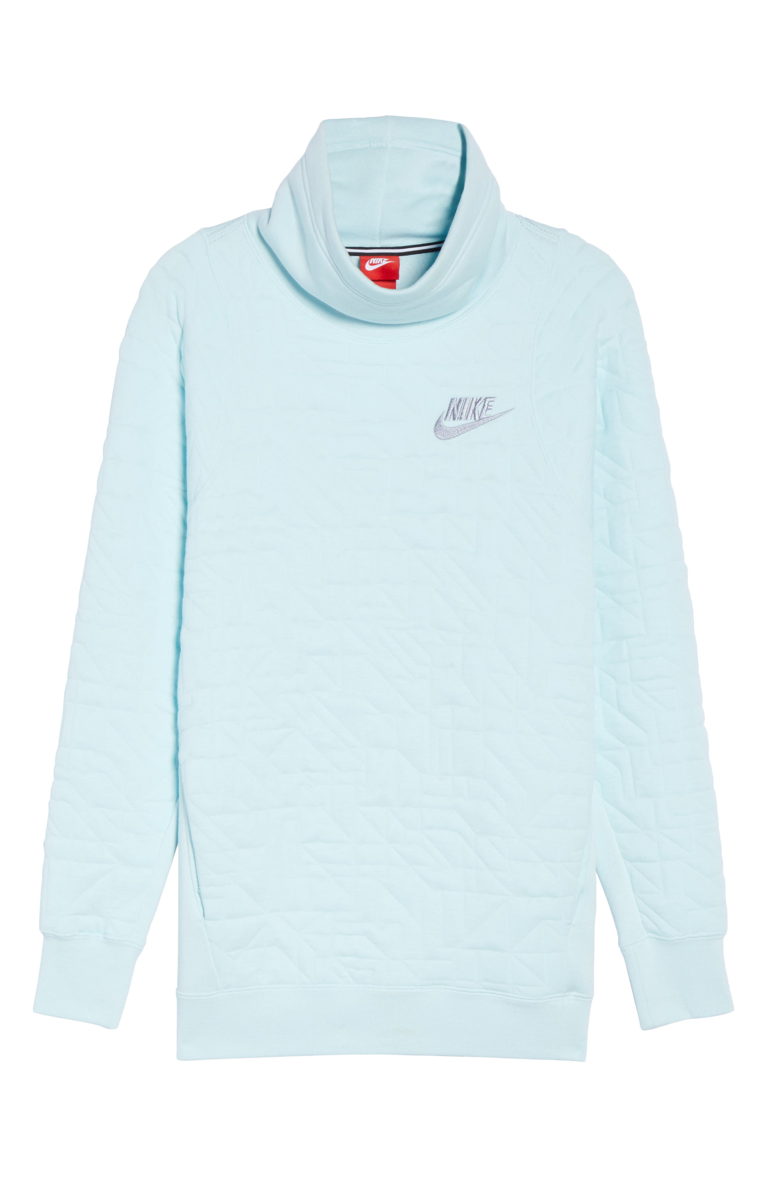 Sportswear Quilted Funnel Neck Pullover,                             Alternate thumbnail 3, color,                             Glacier Blue/ Glacier Grey
