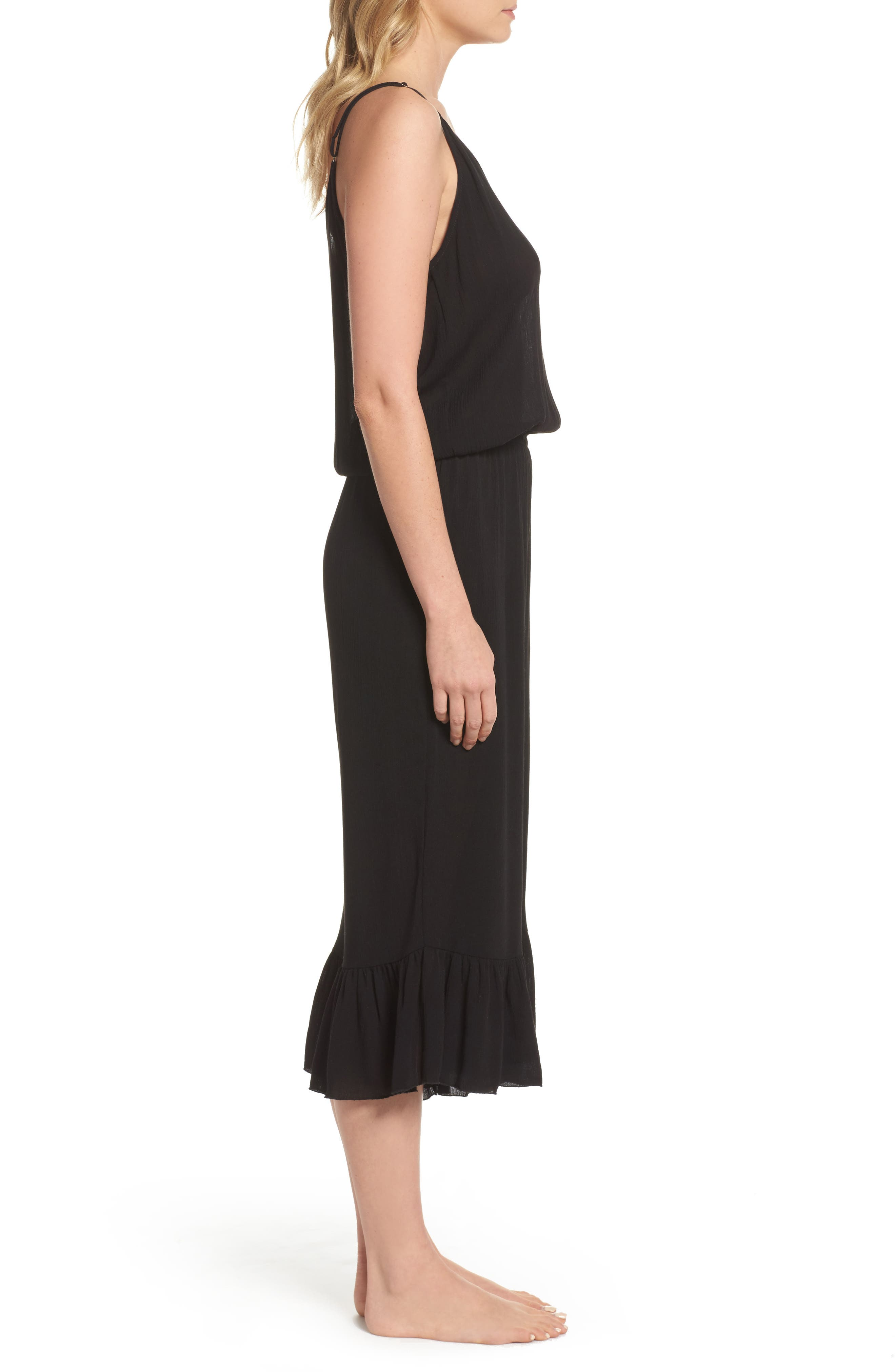 Culotte Cover-Up Jumpsuit,                             Alternate thumbnail 3, color,                             Black