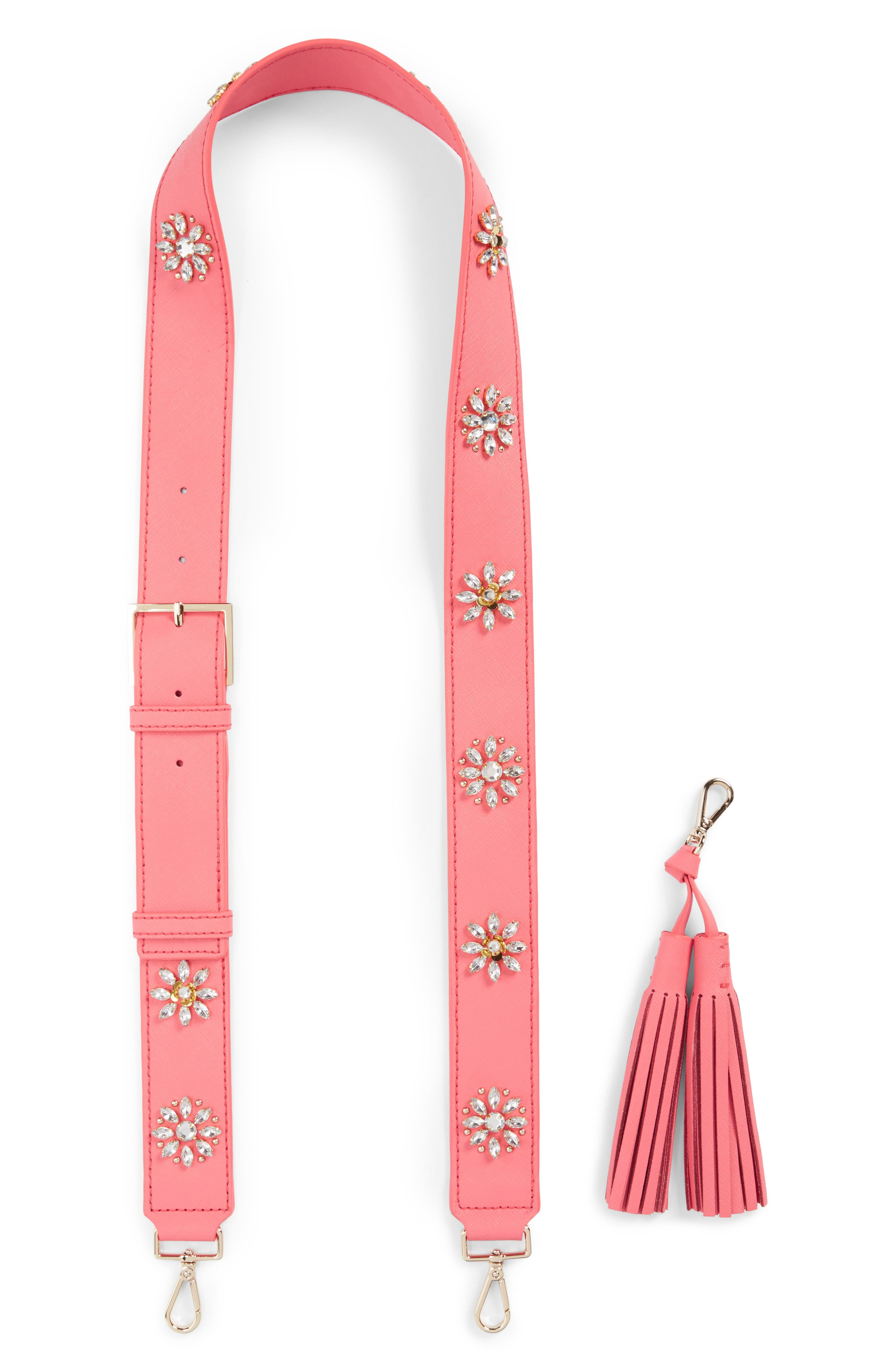 Main Image - kate spade new york make it mine crystal flowers leather guitar bag strap & tassel