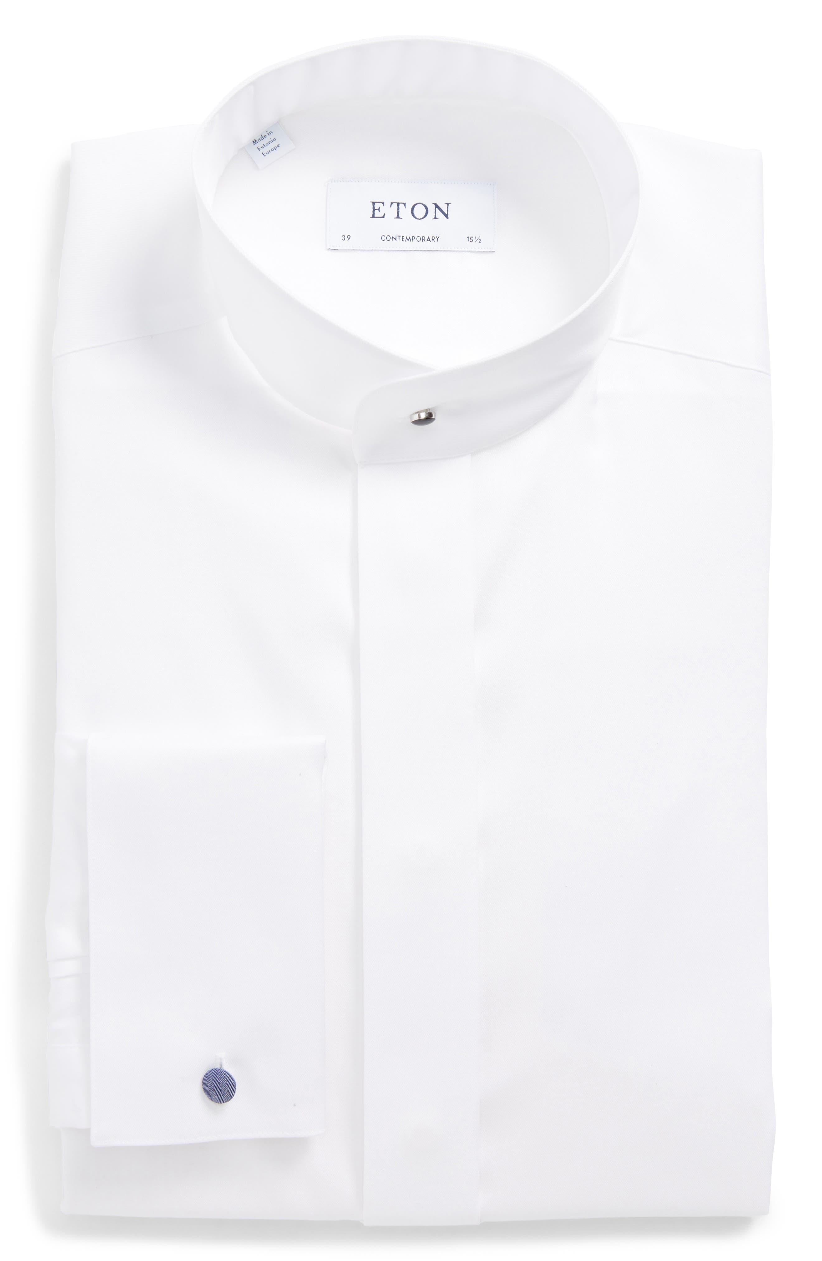 Eton Contemporary Fit Herringbone Tuxedo Shirt
