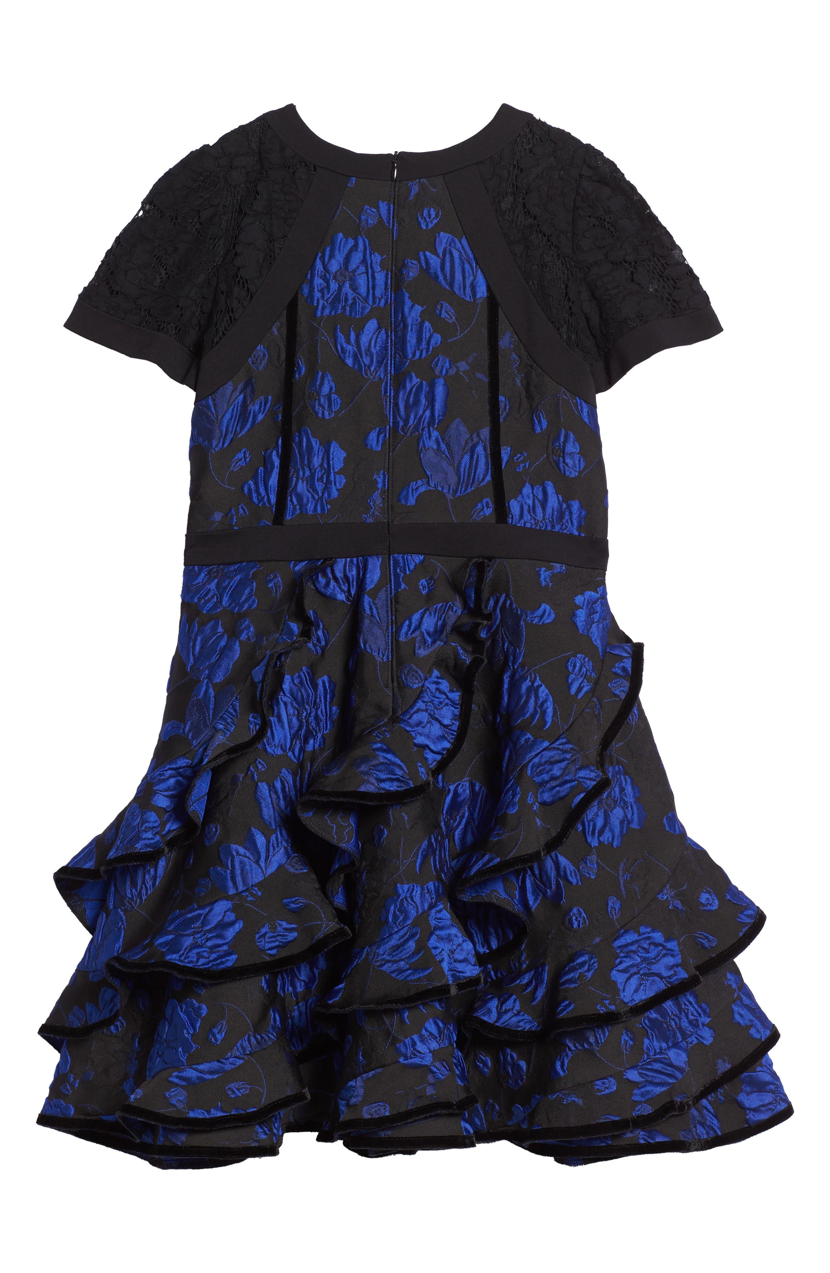 Alternate Image 2  - Tadashi Shoji Brocade Ruffle Dress (Toddler Girls, Little Girls & Big Girls)