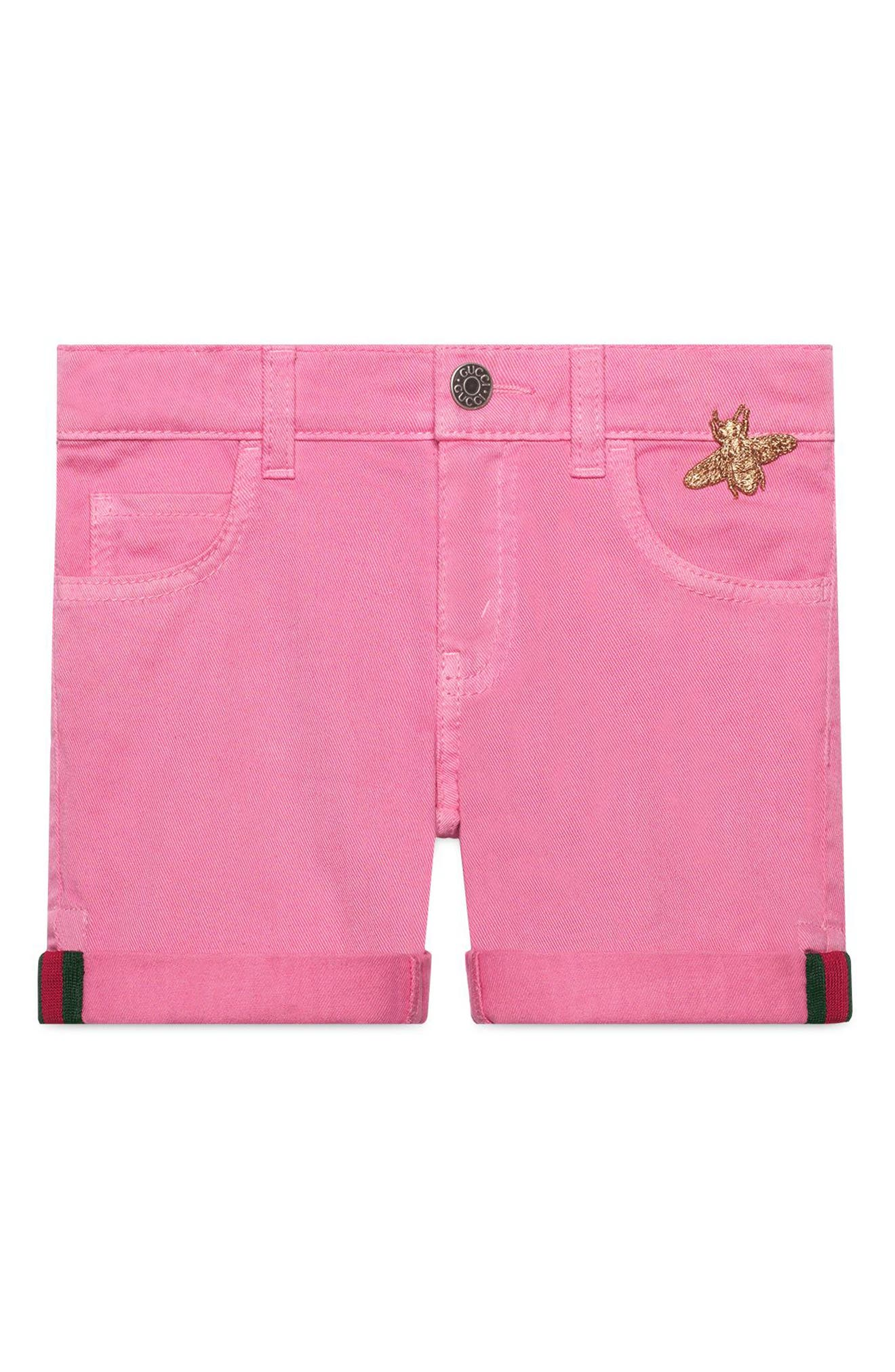 Pink Denim Cuffed Shorts,                         Main,                         color, Copper/ Rose