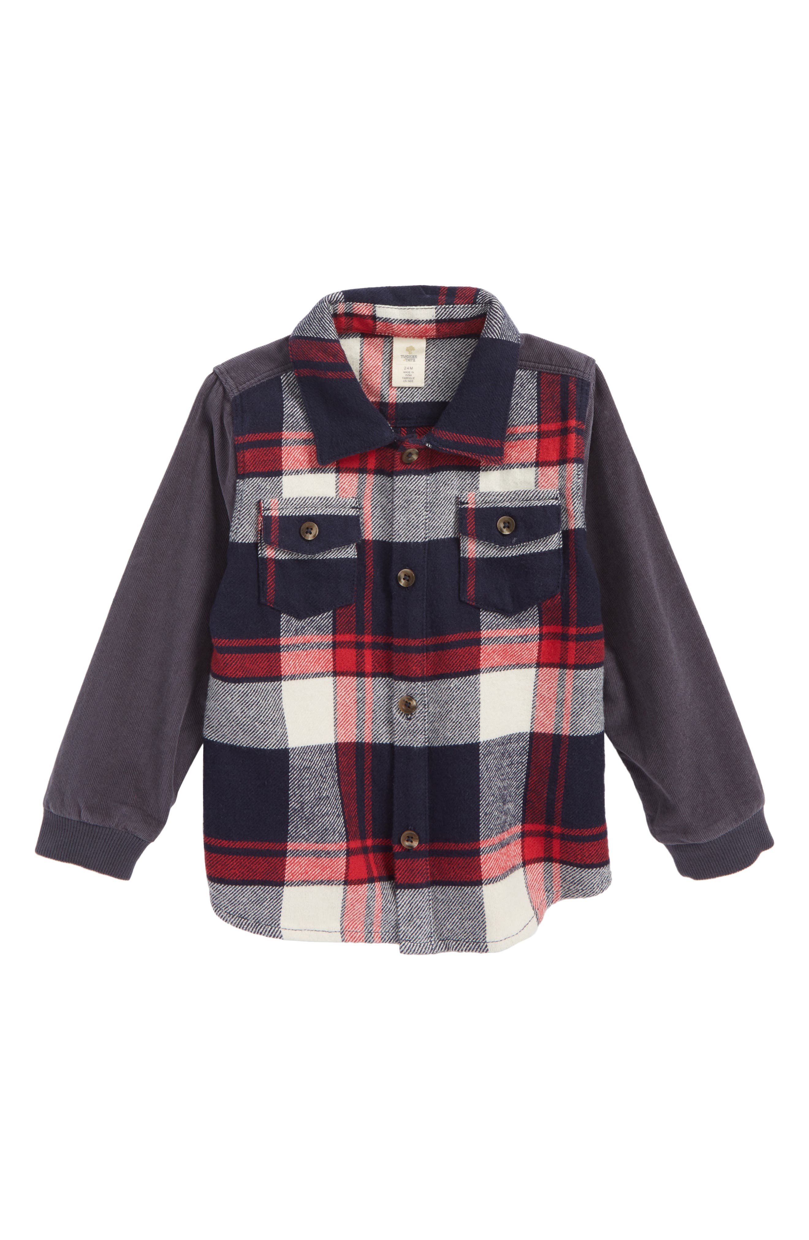 Mixed Media Plaid Shirt,                             Main thumbnail 1, color,                             Red Chili- Navy Plaid