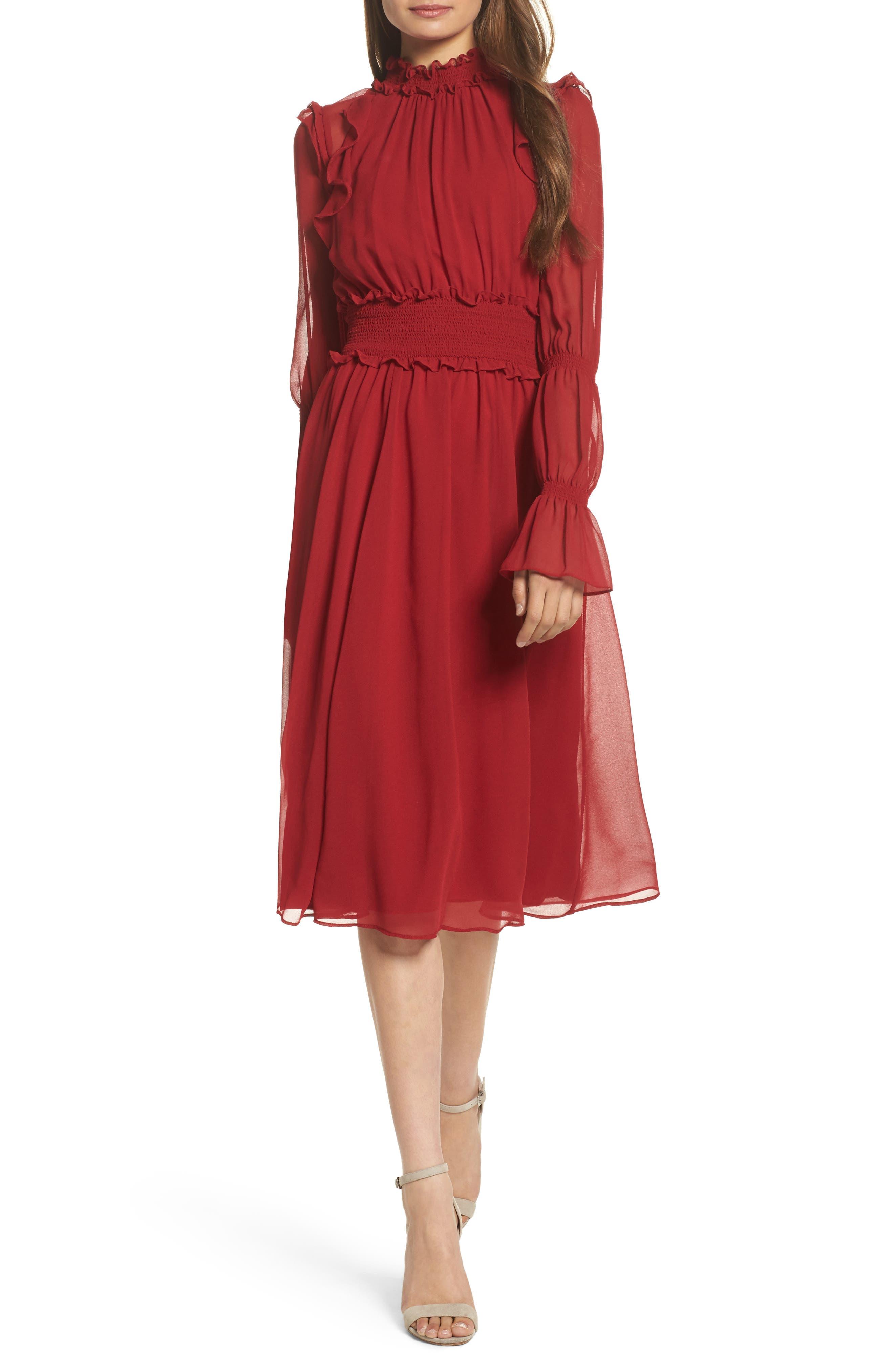 Ruffle Midi Dress,                             Main thumbnail 1, color,                             Red Jester