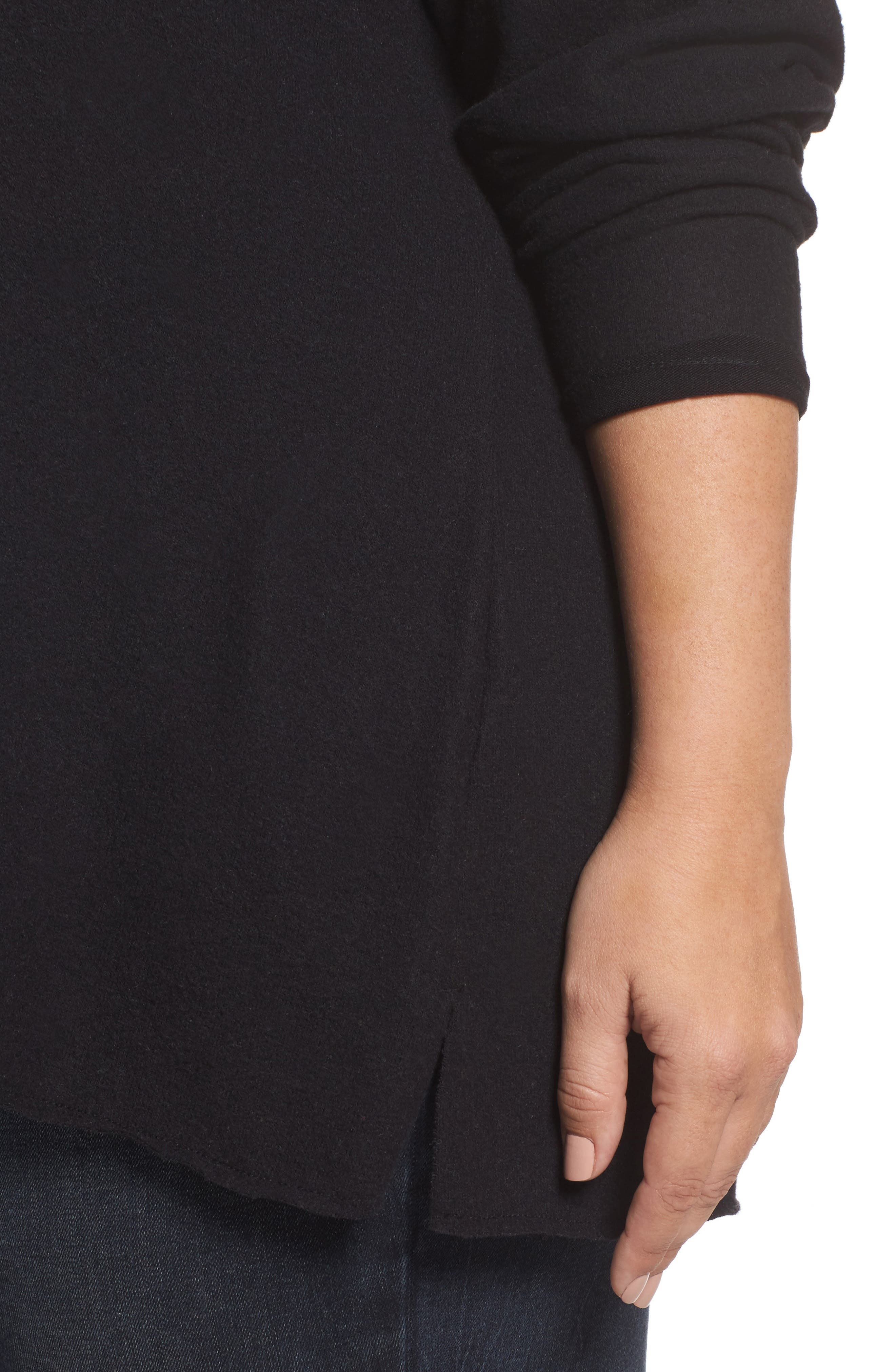 Drop Shoulder Pocket Top,                             Alternate thumbnail 4, color,                             Black