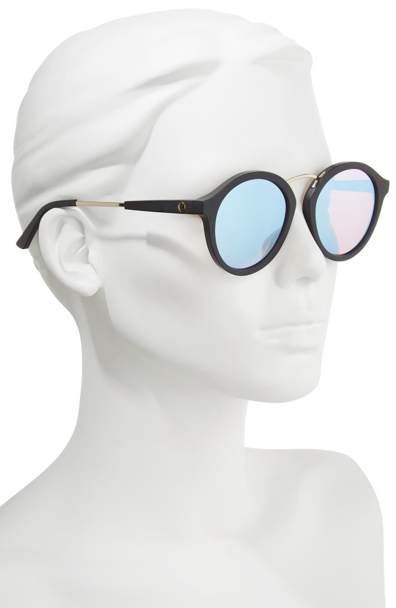 Mix Tape 52mm Mirrored Round Sunglasses,                             Alternate thumbnail 2, color,                             Matte Black/ Sky Blue Chrome