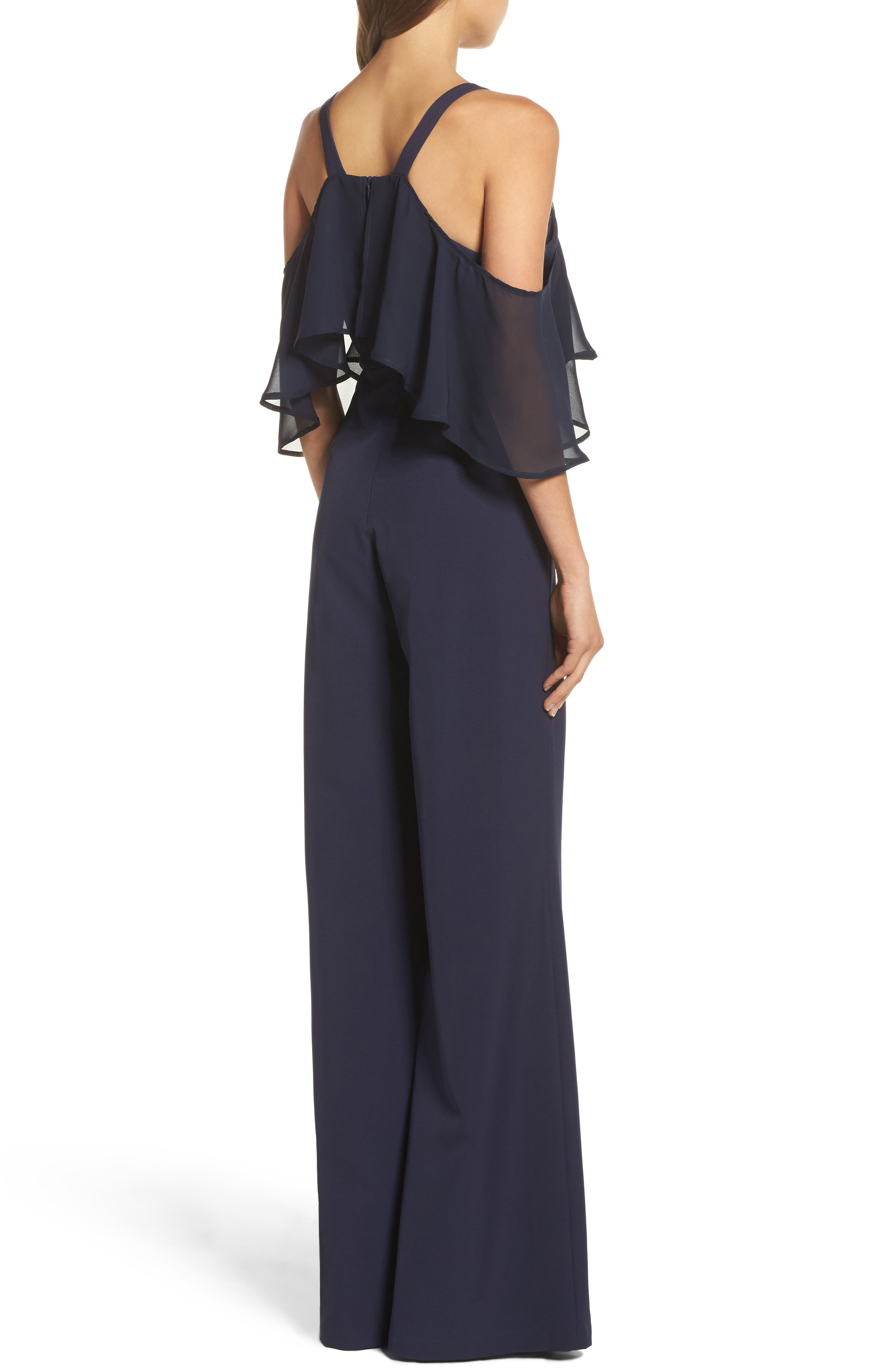 Alternate Image 2  - Jay by Jay Godfrey Oliver Cold Shoulder Ruffle Jumpsuit