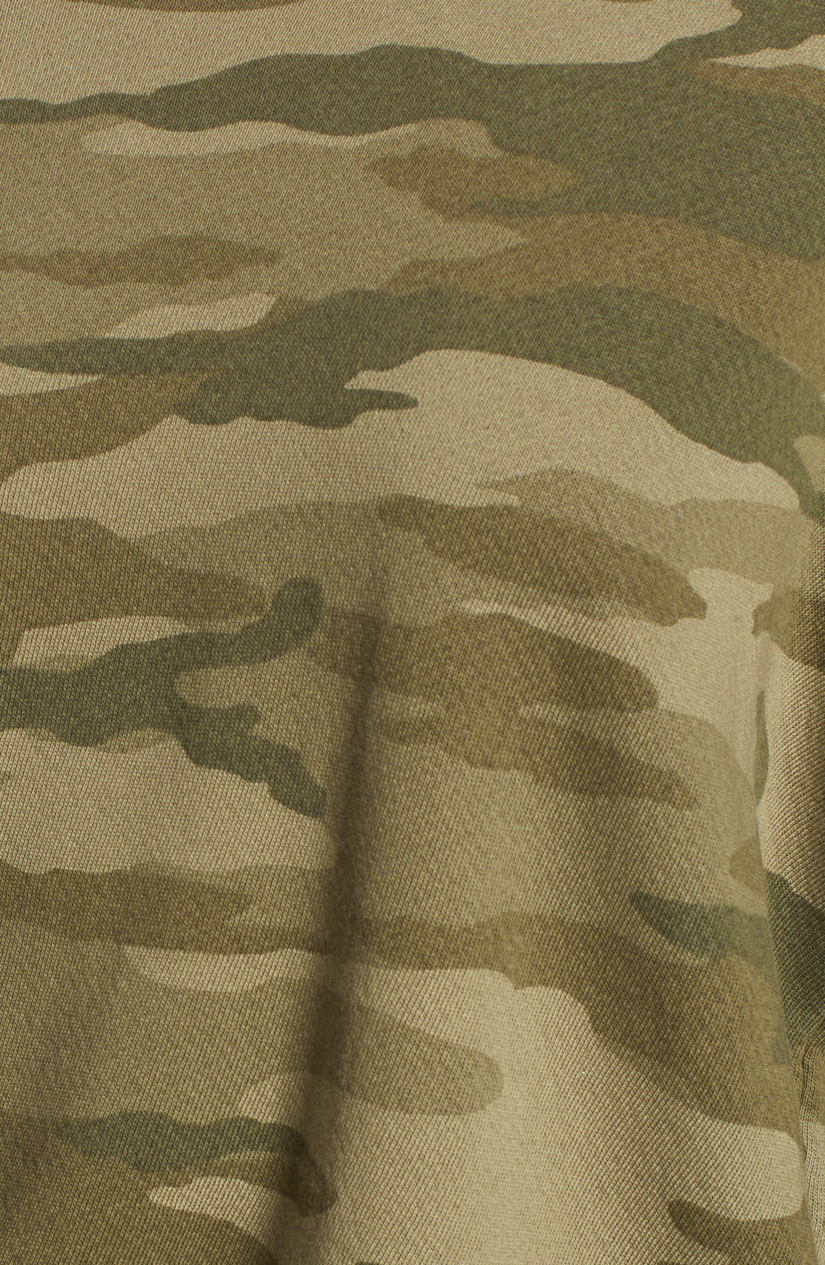 The Ruffle Sleeve Sweatshirt,                             Alternate thumbnail 5, color,                             Essentials Camo