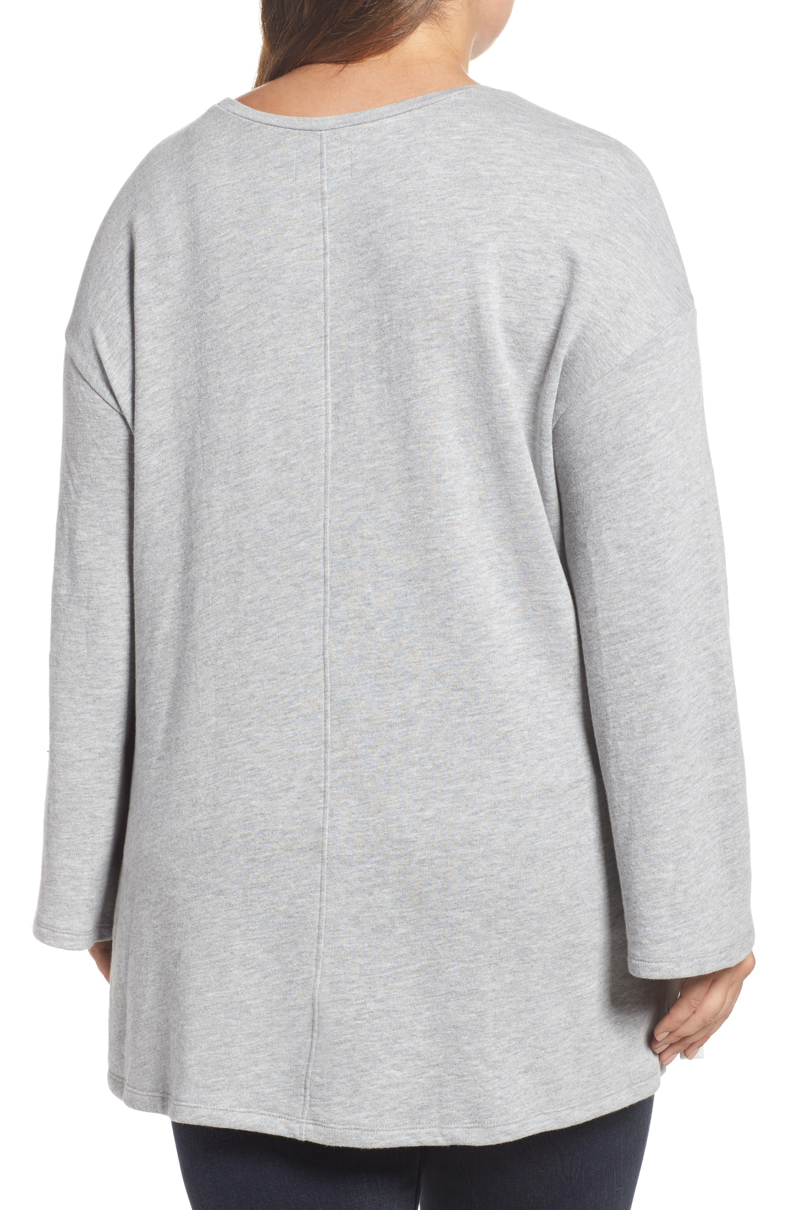 Lace-Up Side Sweatshirt,                             Alternate thumbnail 2, color,                             Grey Heather