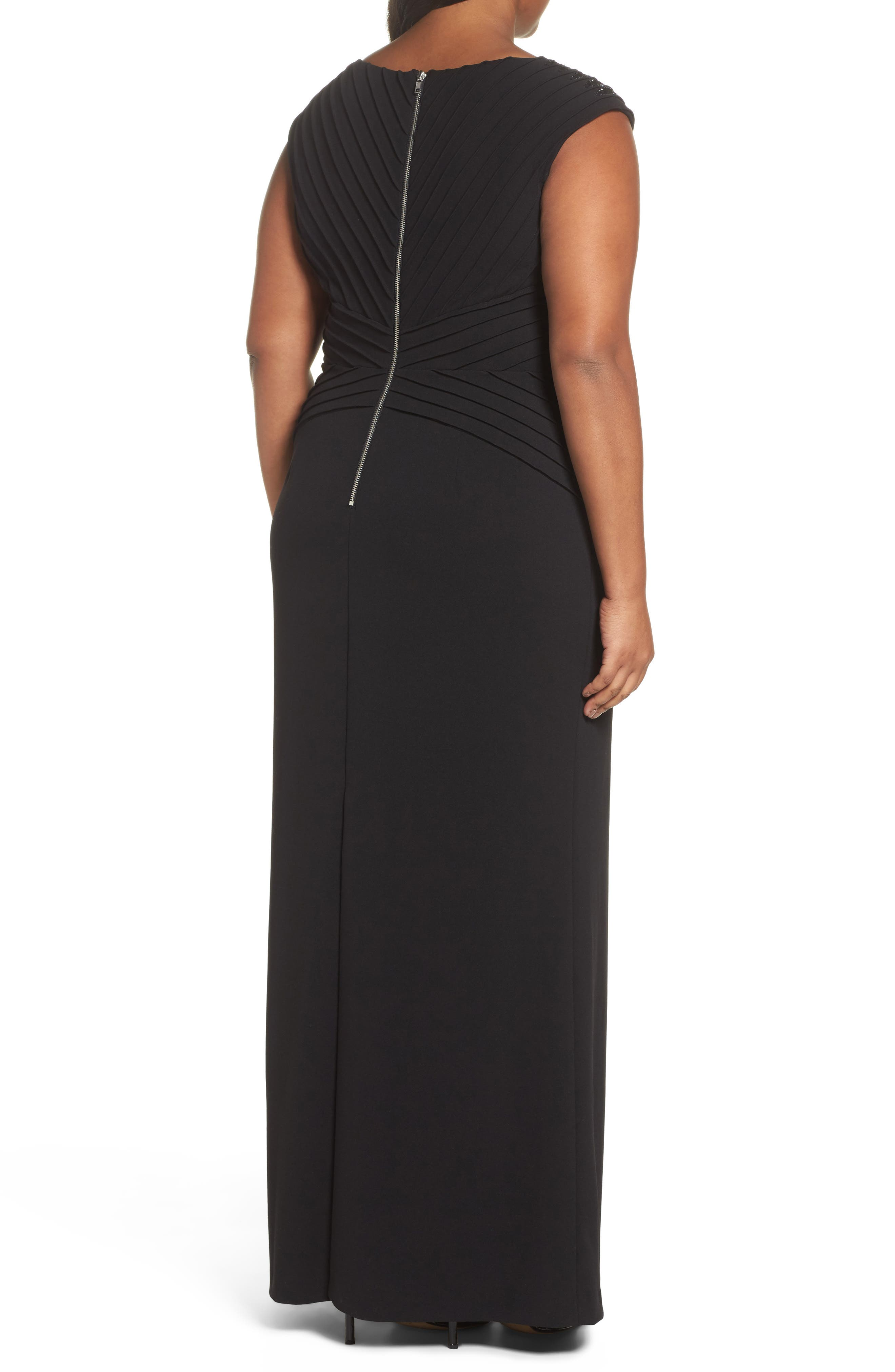 Alternate Image 2  - Adrianna Papell Embellsihed Pintucked A-Line Gown (Plus Size)