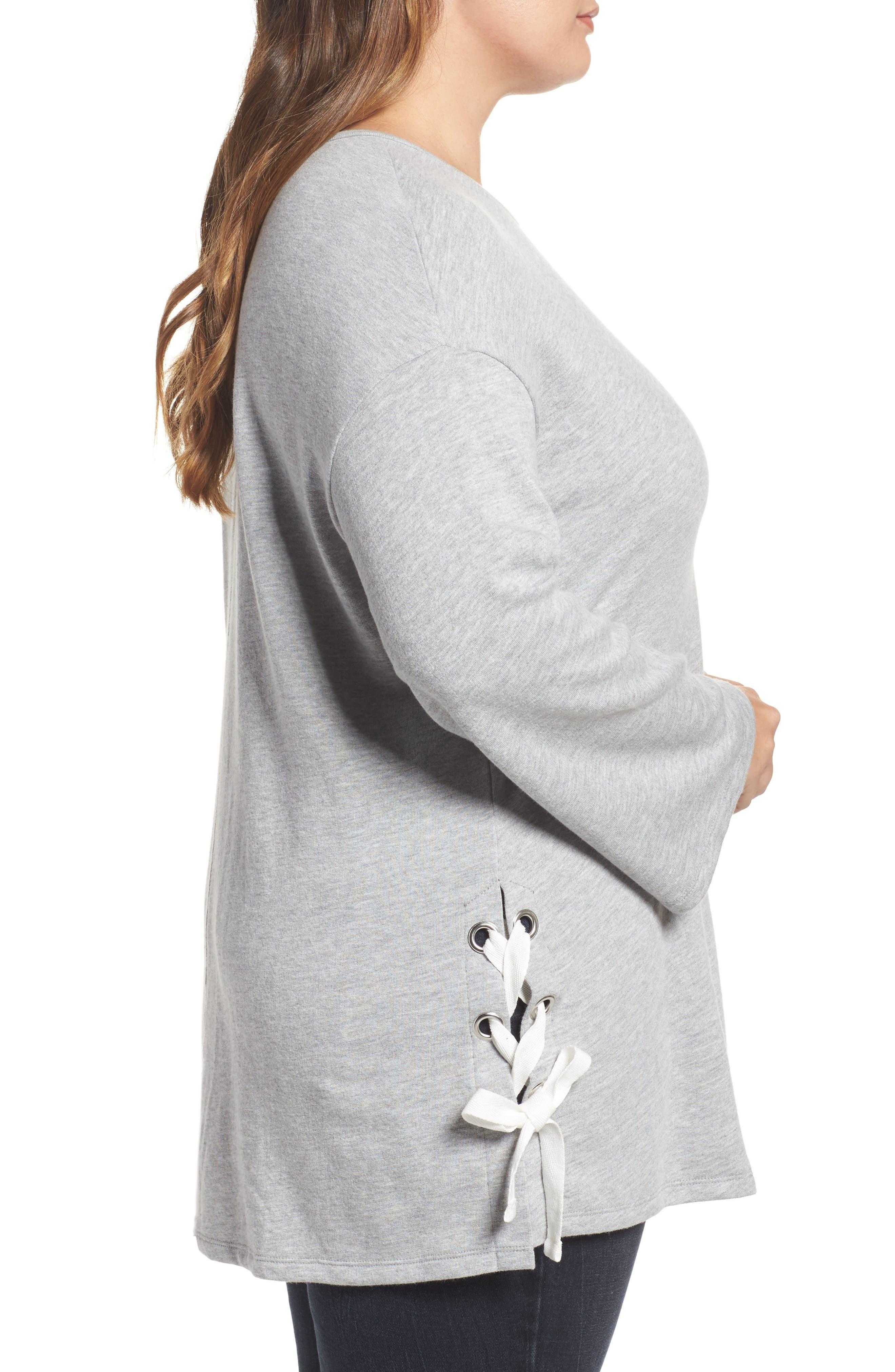 Lace-Up Side Sweatshirt,                             Alternate thumbnail 3, color,                             Grey Heather