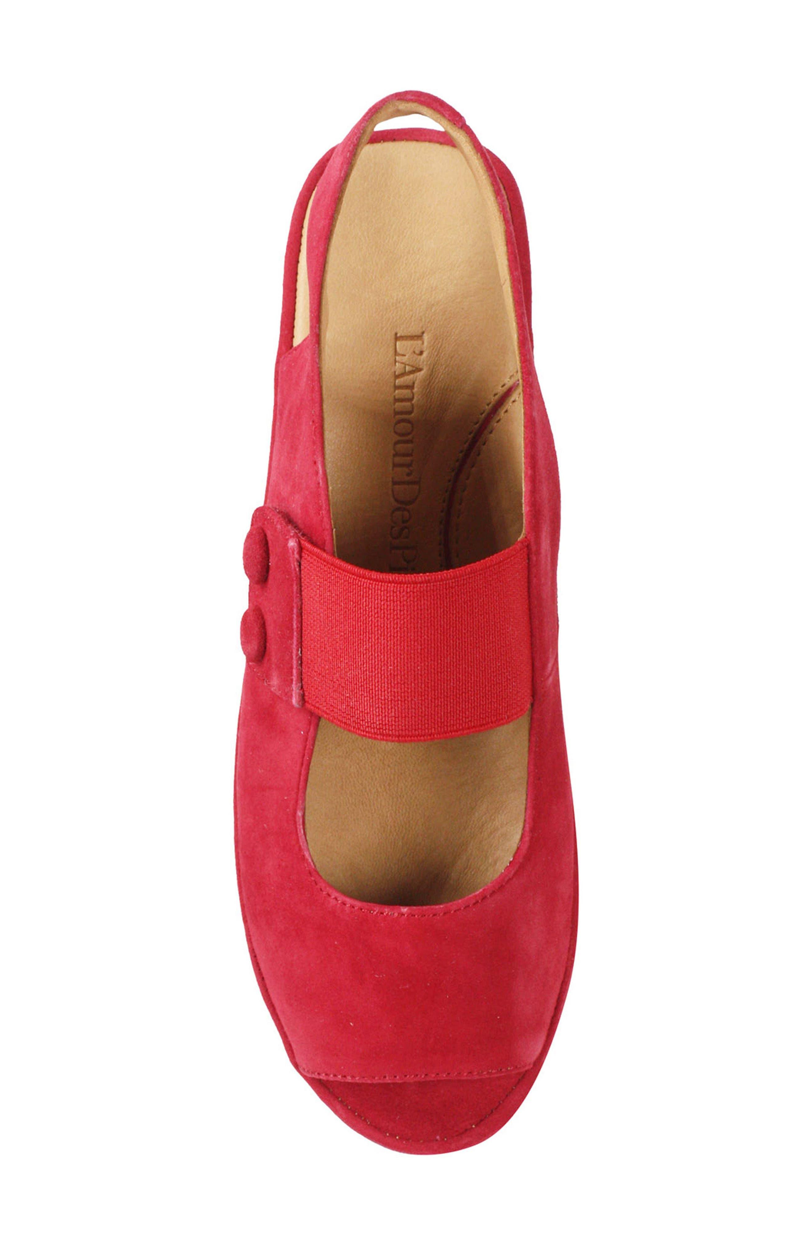 Adalicia Platform Sandal,                             Alternate thumbnail 5, color,                             Bright Red Suede