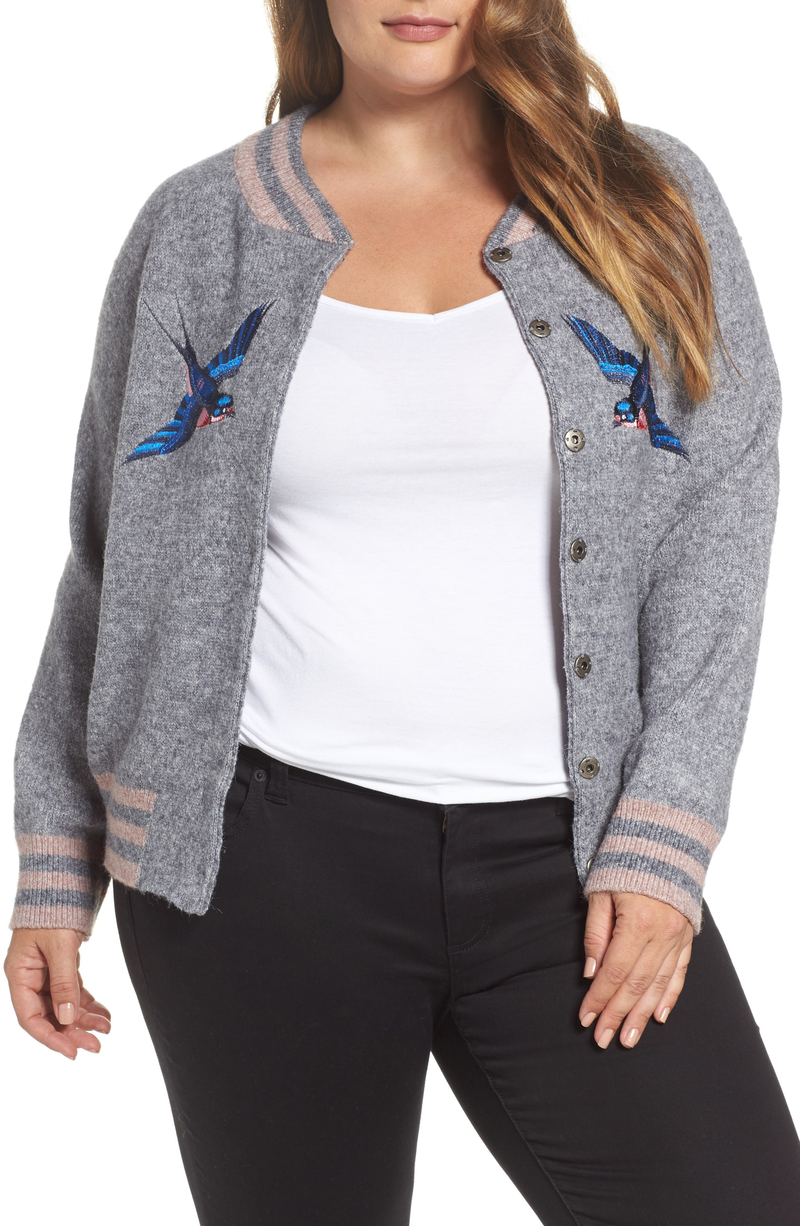 Zanja Embroidered Knit Bomber Jacket,                             Main thumbnail 1, color,                             Medium Grey Melange