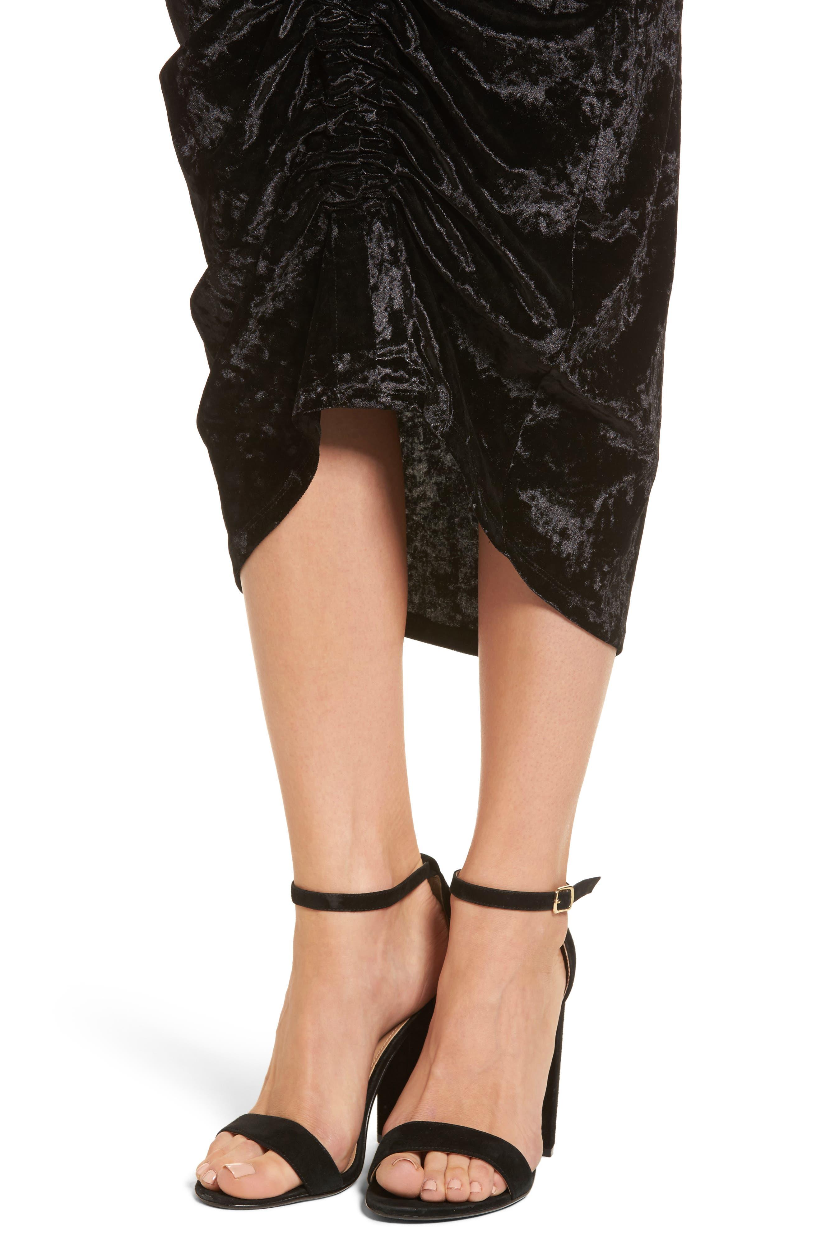 Velvet Midi Skirt,                             Alternate thumbnail 4, color,                             Black