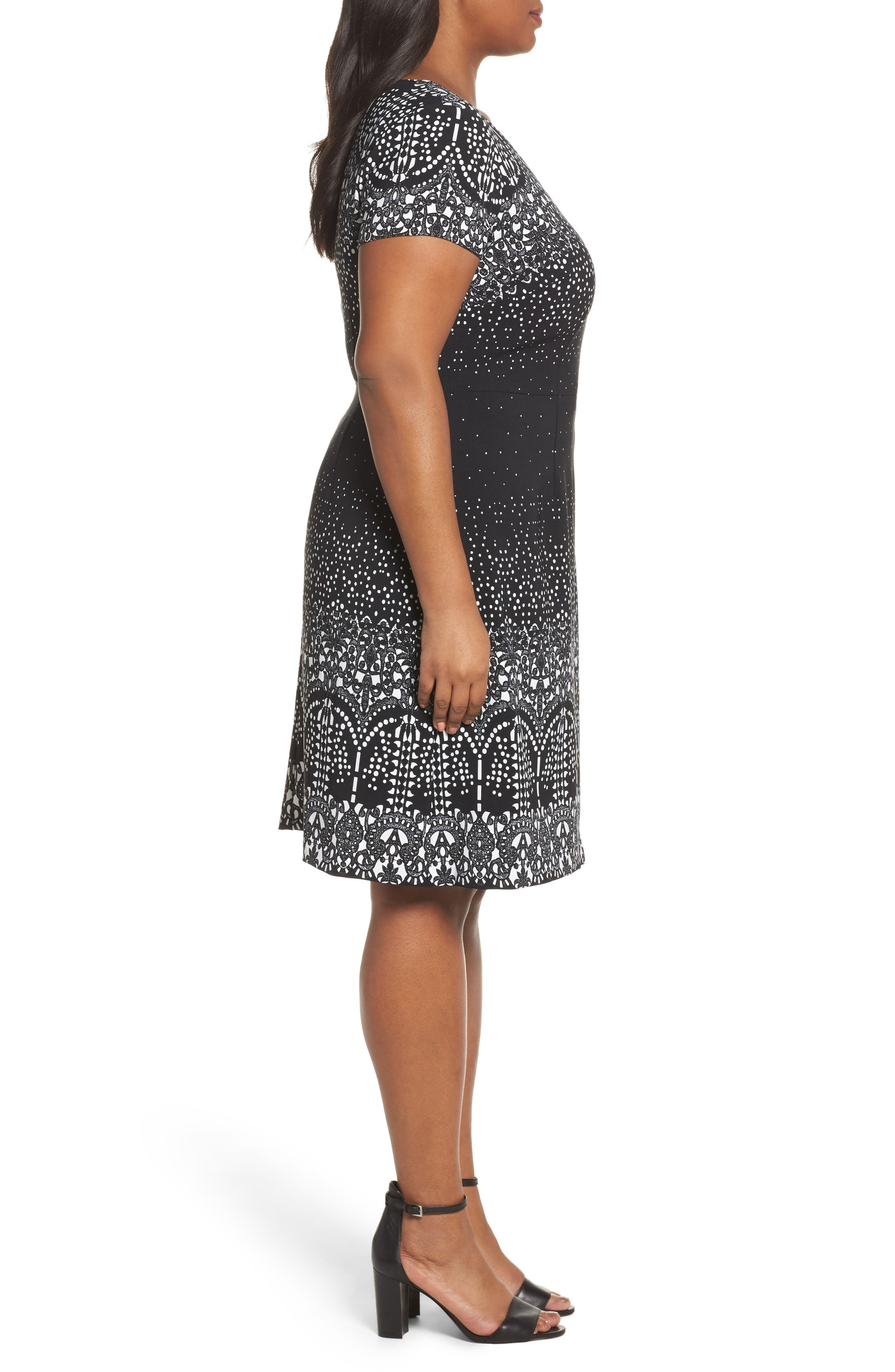 Lace Majesty Print A-Line Dress,                             Alternate thumbnail 3, color,                             Black Multi