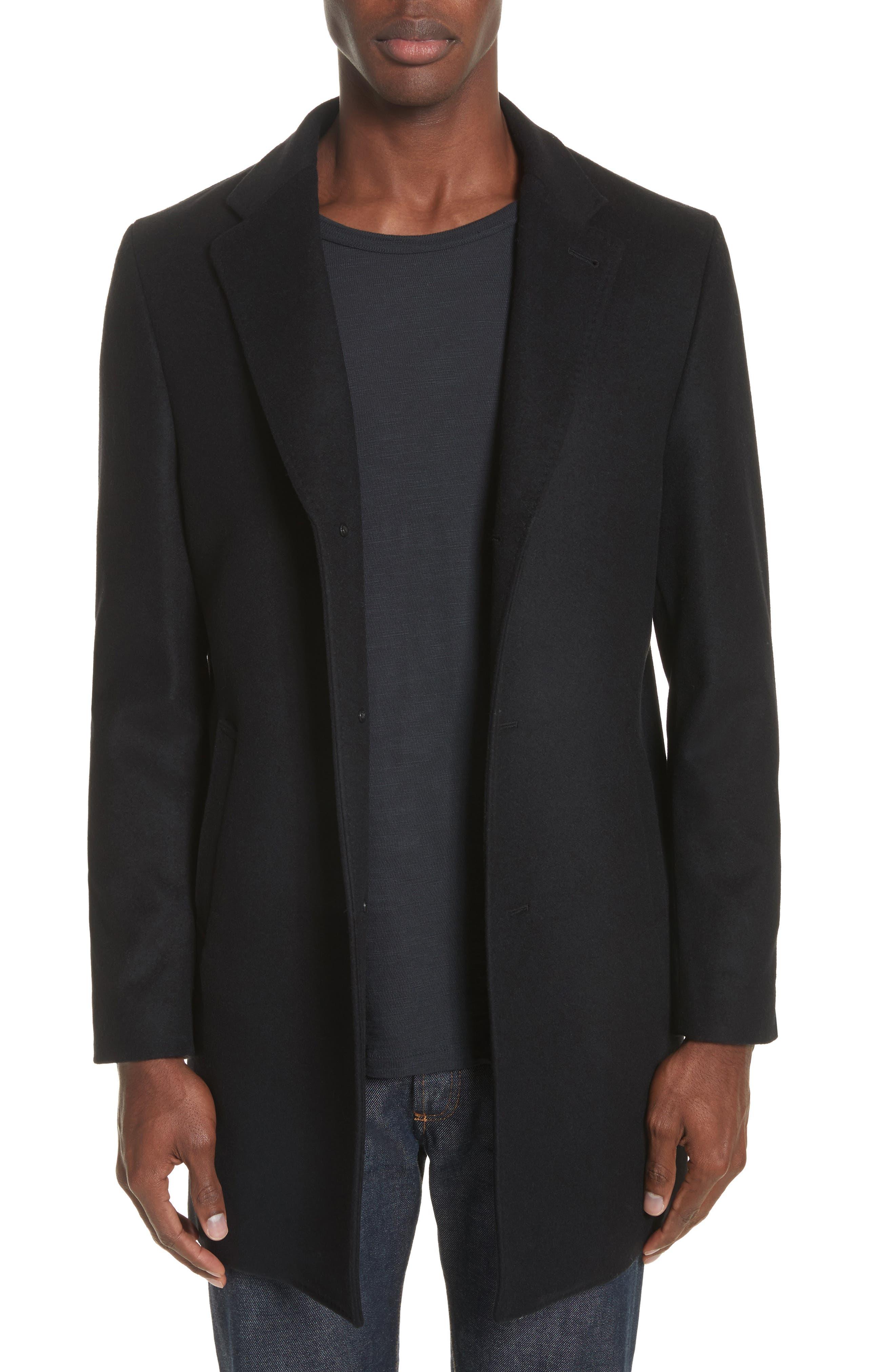 Walsh Wool Blend Topcoat,                             Main thumbnail 1, color,                             Black