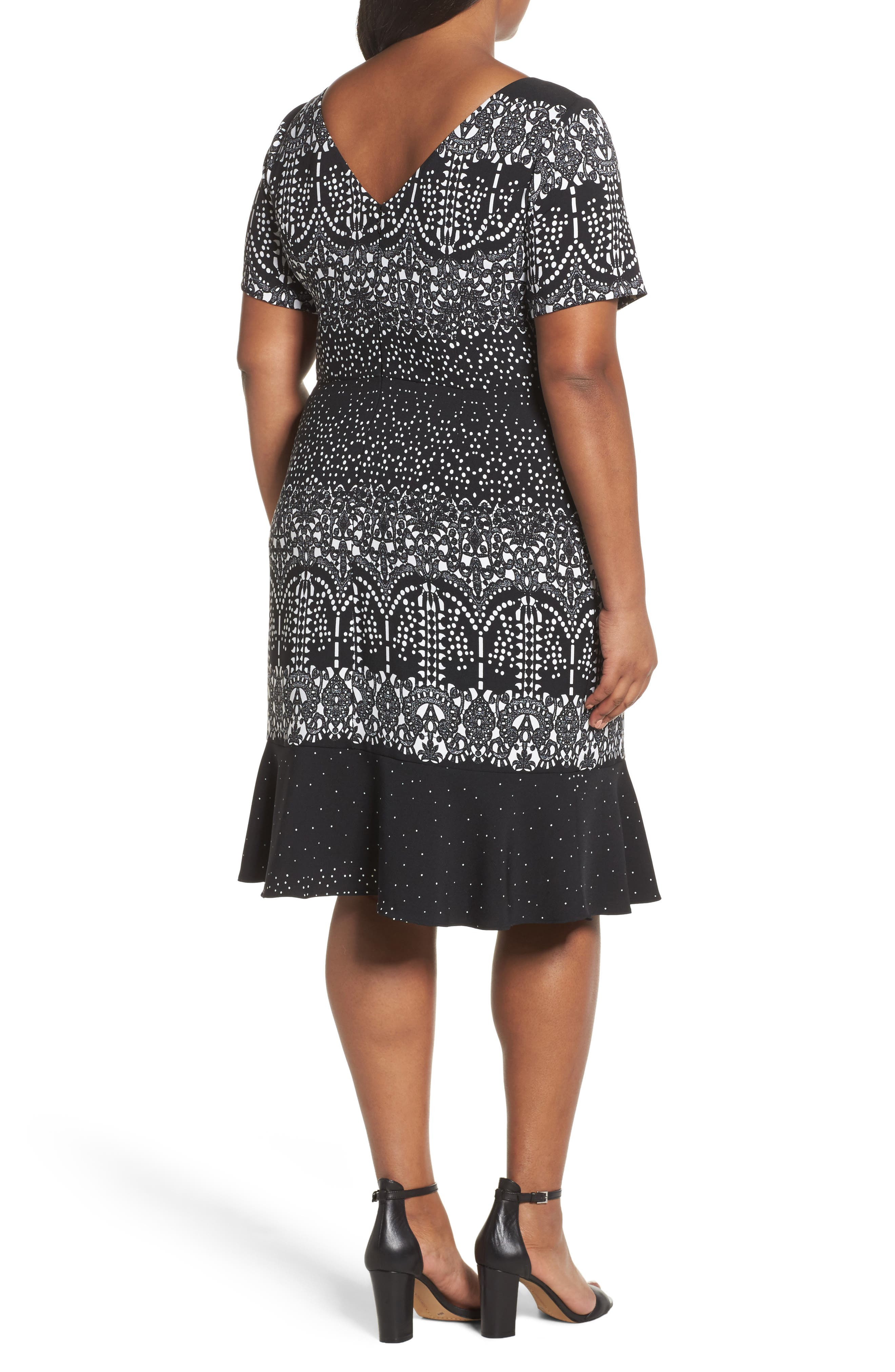 Lace Majesty Print Fit & Flare Dress,                             Alternate thumbnail 2, color,                             Black Multi