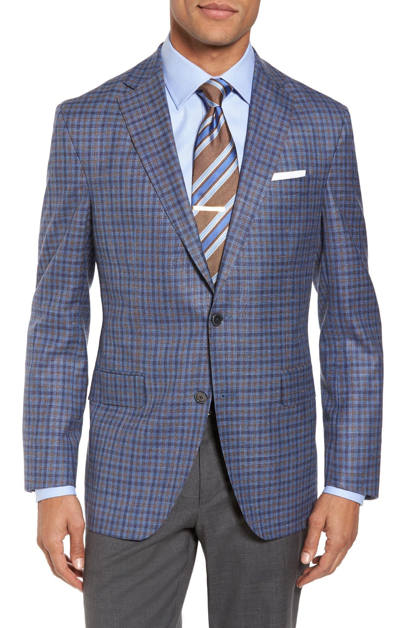 Main Image - David Donahue Ashton Classic Fit Stretch Check Wool Blend Sport Coat