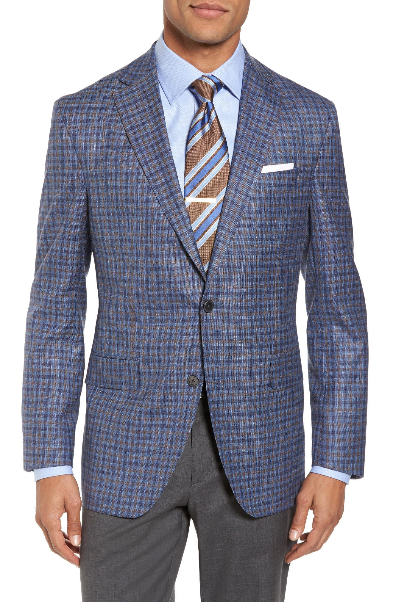 David Donahue Ashton Classic Fit Stretch Check Wool Blend Sport Coat