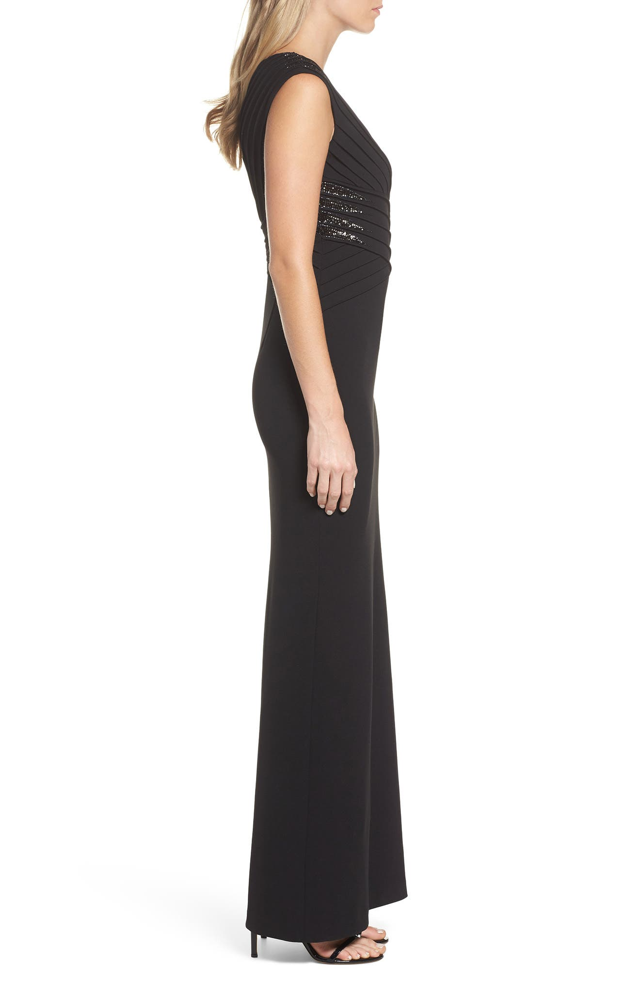Alternate Image 3  - Adrianna Papell Pintuck Crepe Gown (Regular & Petite)