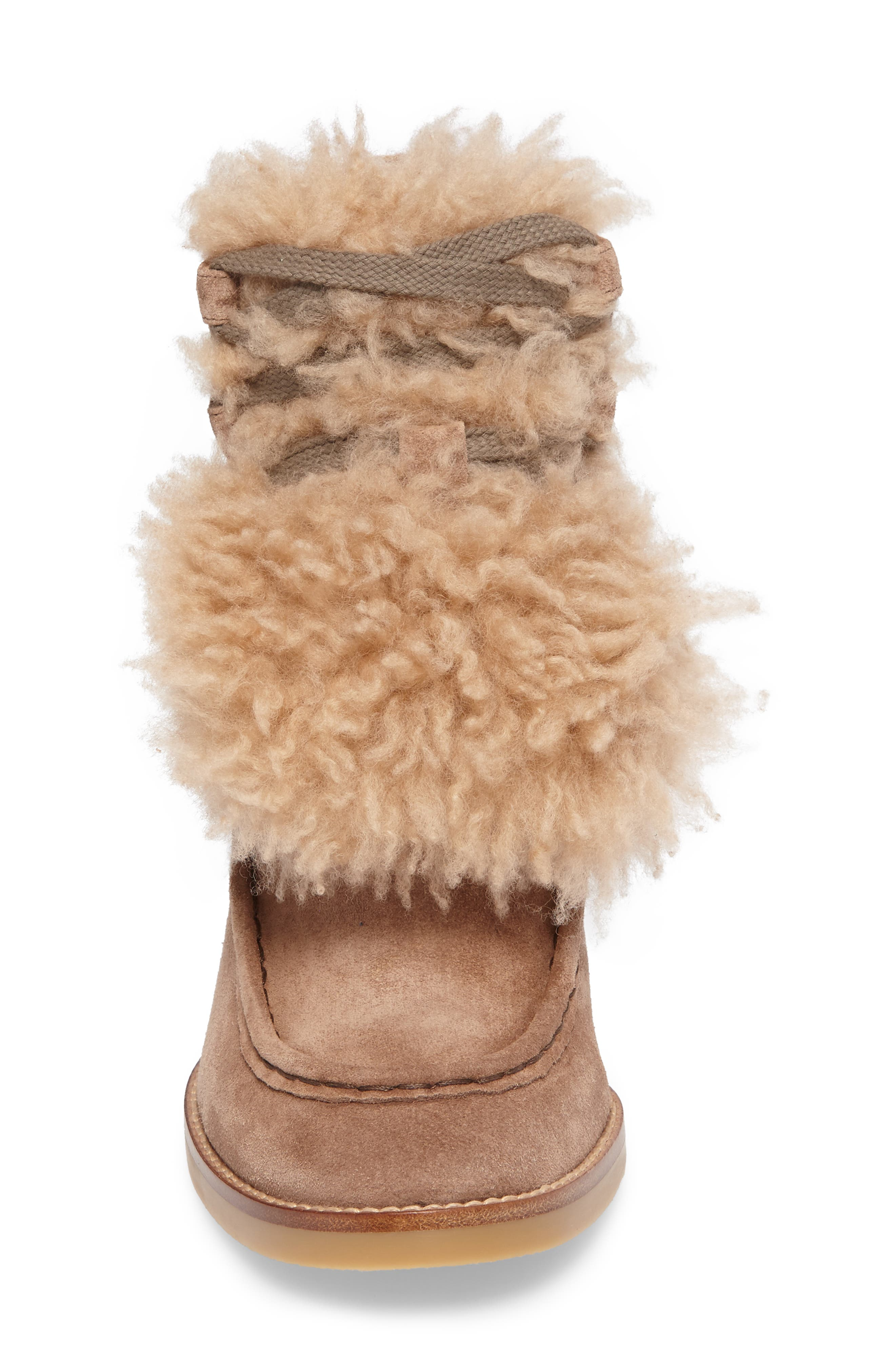 Peggy Genuine Shearling Wedge Bootie,                             Alternate thumbnail 4, color,                             Latte Brown Suede
