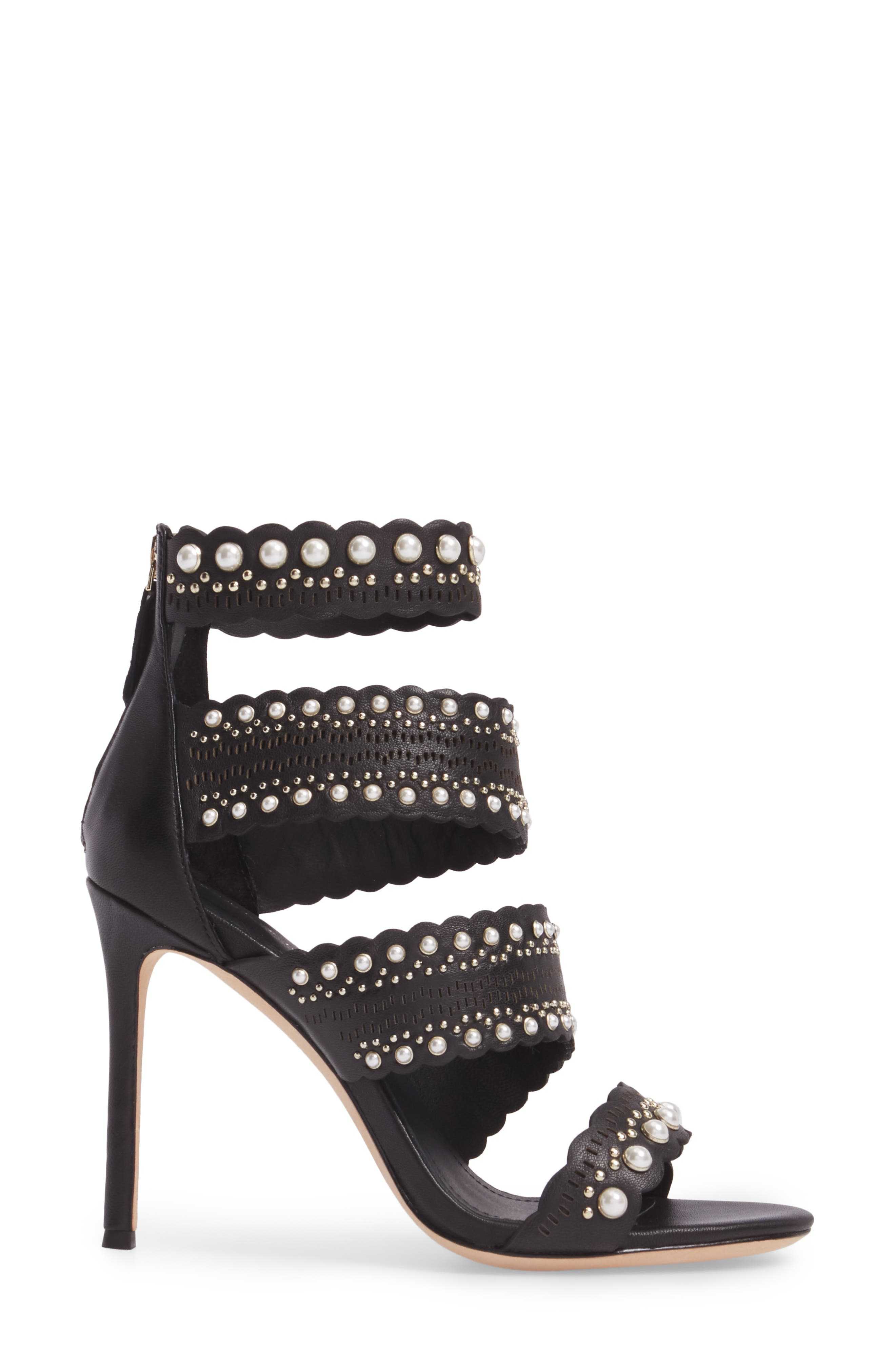 Ellura Scalloped Strap Sandal,                             Alternate thumbnail 3, color,                             Black Leather