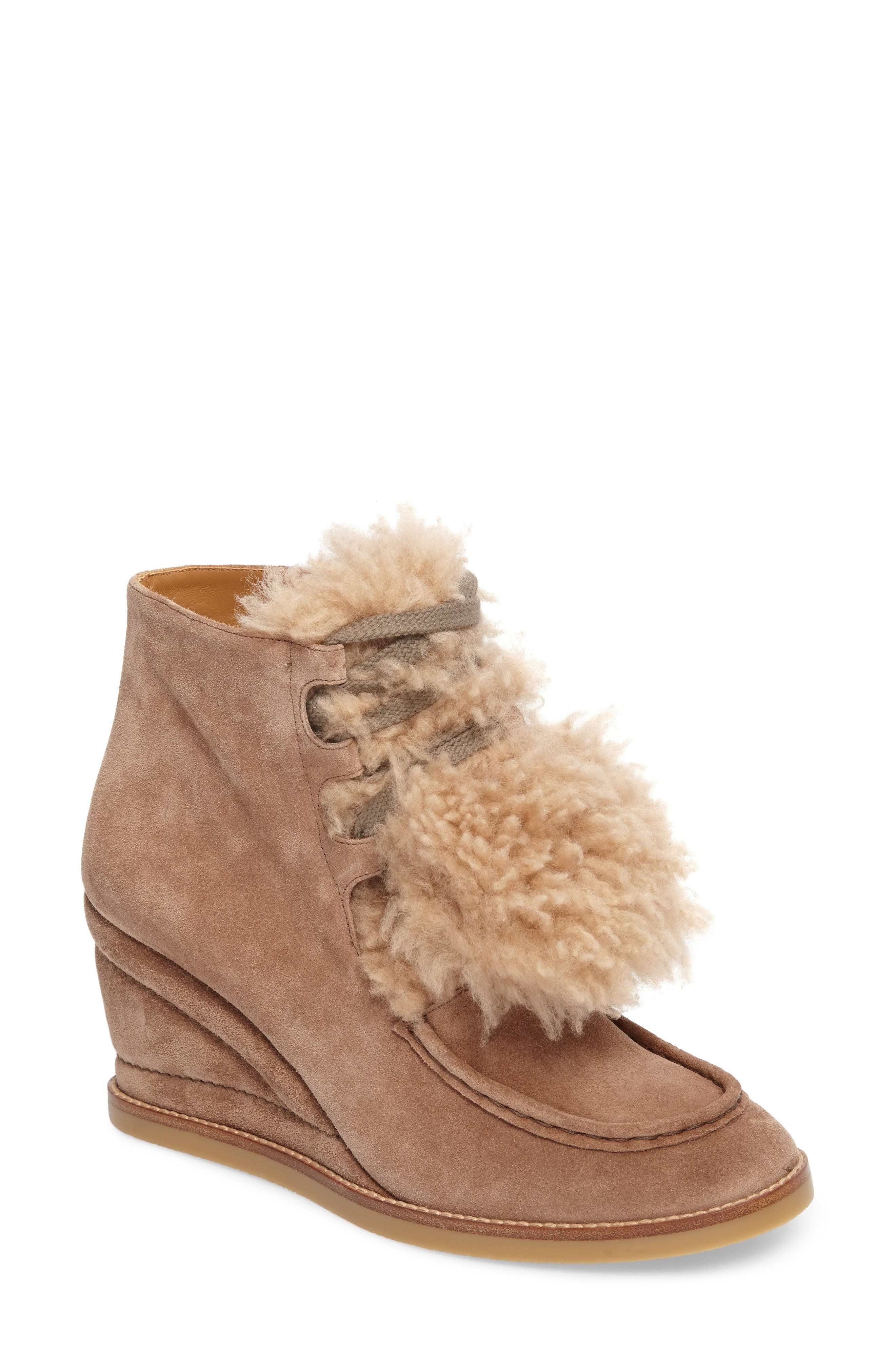 Peggy Genuine Shearling Wedge Bootie,                             Main thumbnail 1, color,                             Latte Brown Suede