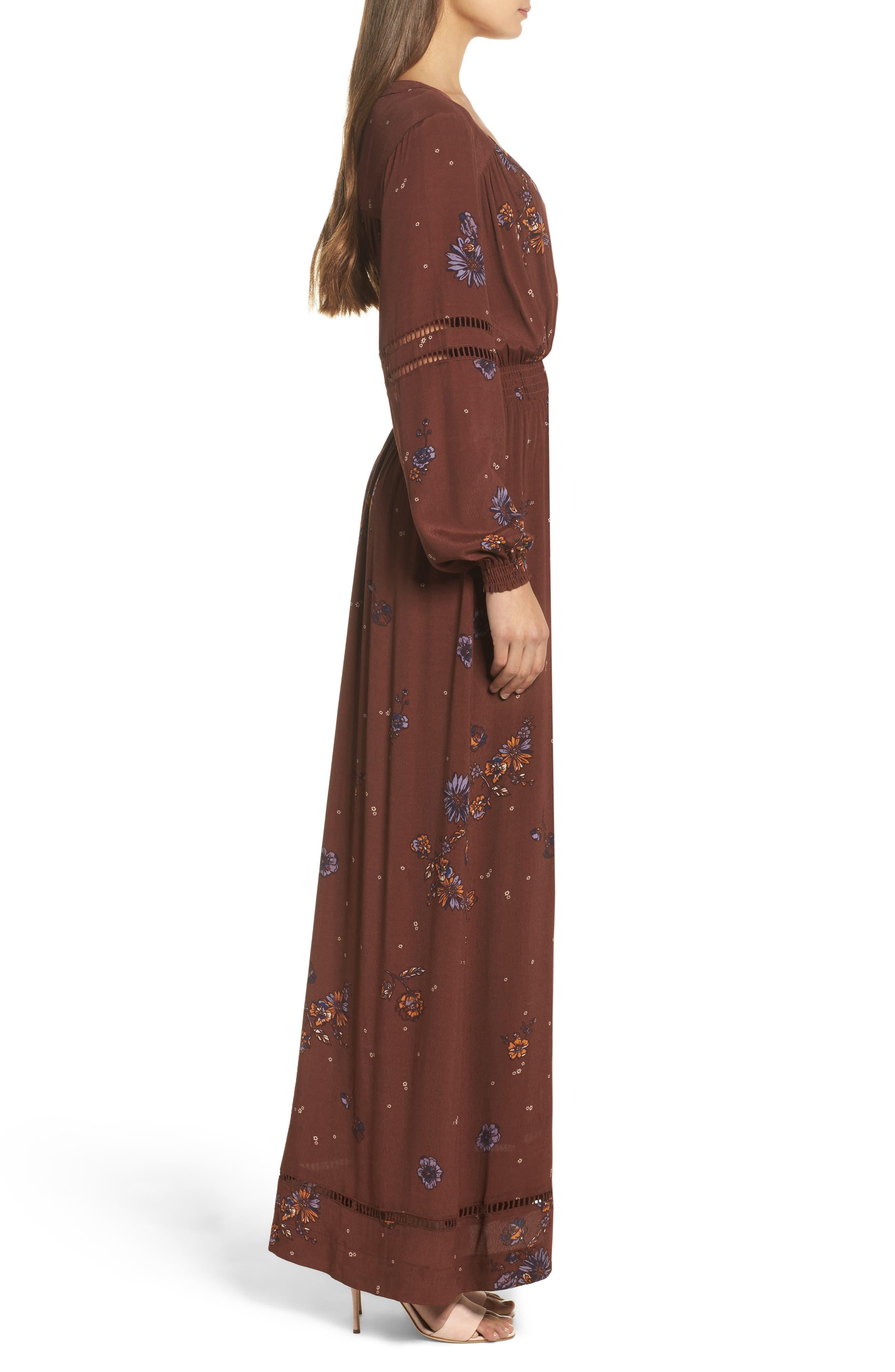 Jenny Maxi Dress,                             Alternate thumbnail 3, color,                             Dark Chocolate Pansies