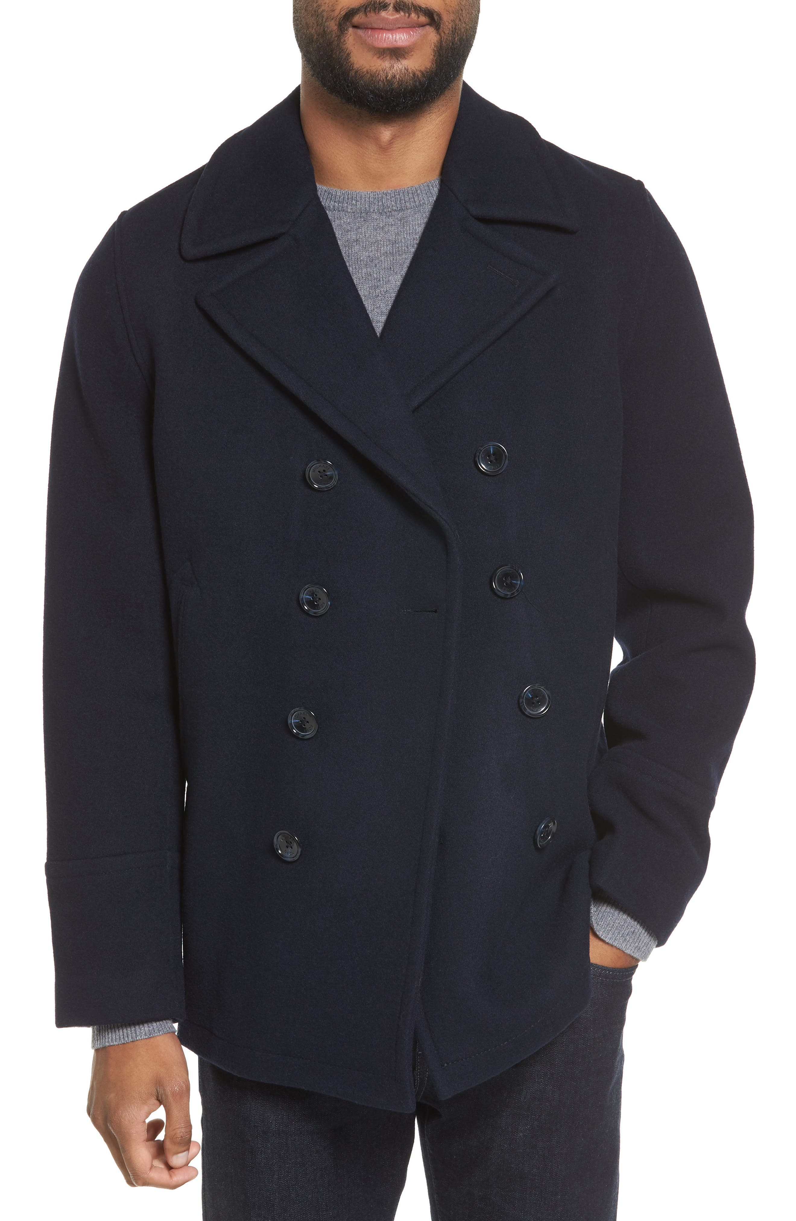 Wool Blend Double Breasted Peacoat,                         Main,                         color, Officer Navy
