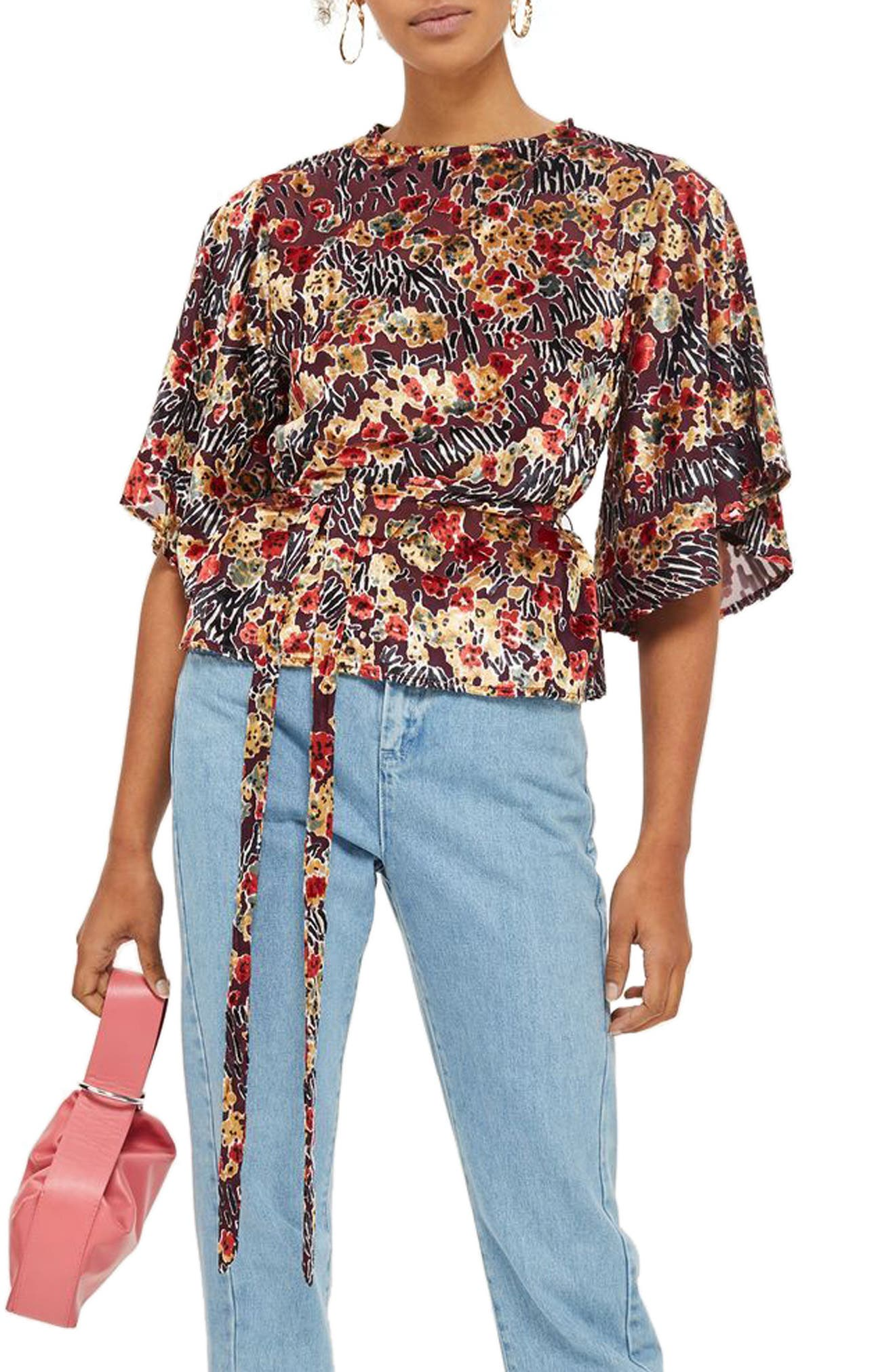 Devoré Bell Sleeve Blouse,                             Main thumbnail 1, color,                             Red Multi