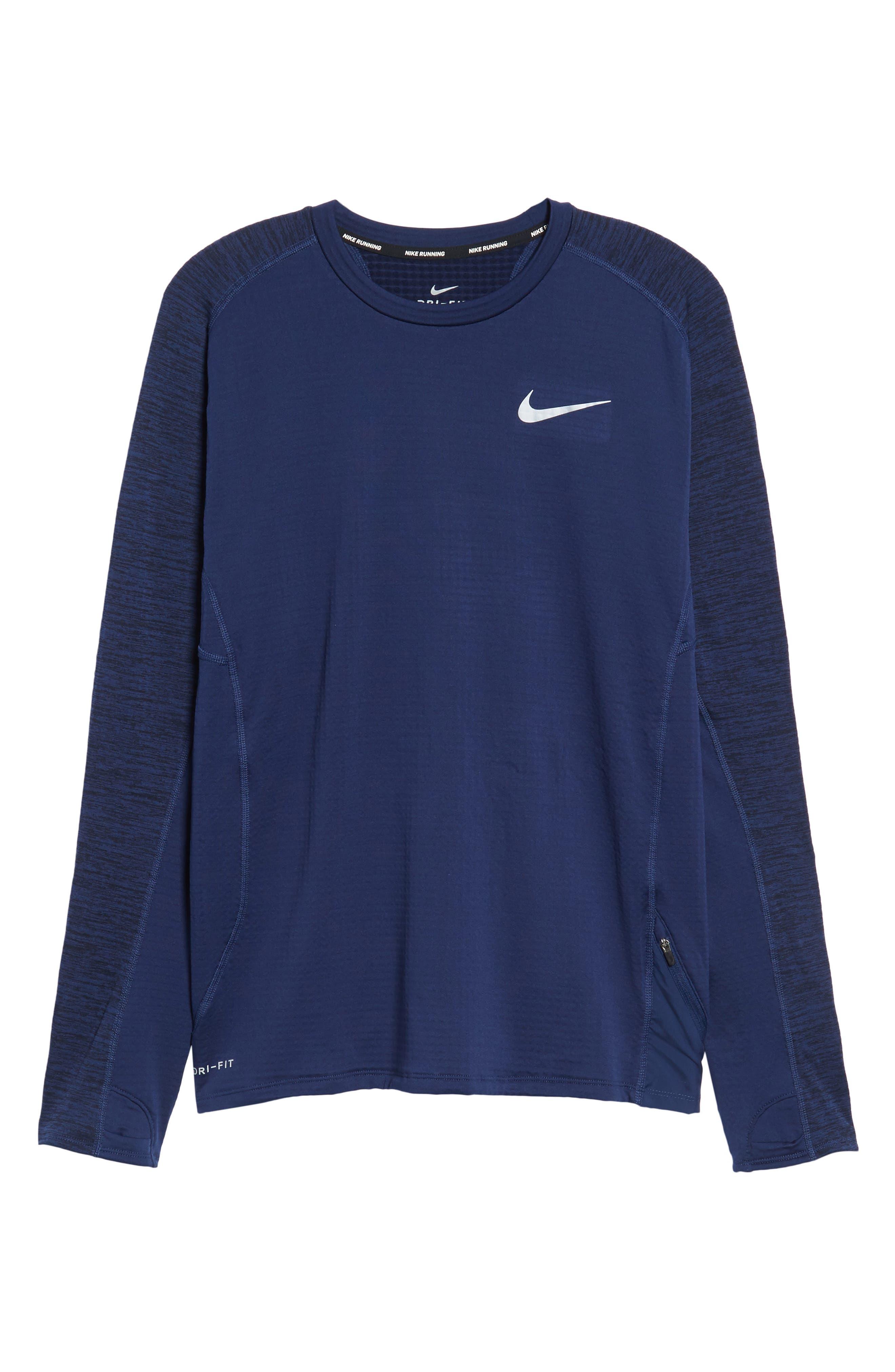 ThermaSphere Long Sleeve Running T-Shirt,                             Alternate thumbnail 10, color,                             Binary Blue/ Purple/ Heather