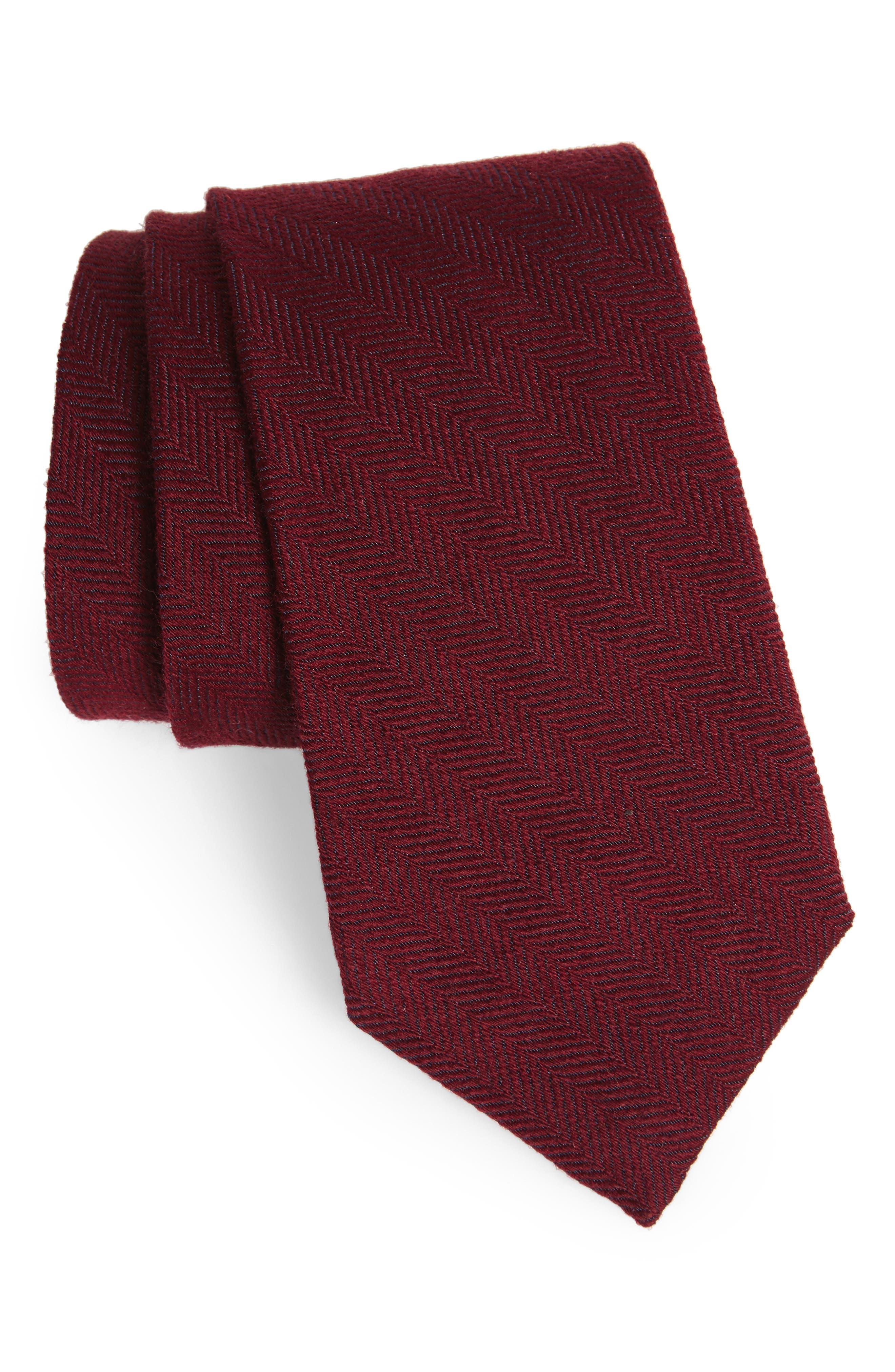 Herringbone Wool & Silk Tie,                         Main,                         color, Burgundy