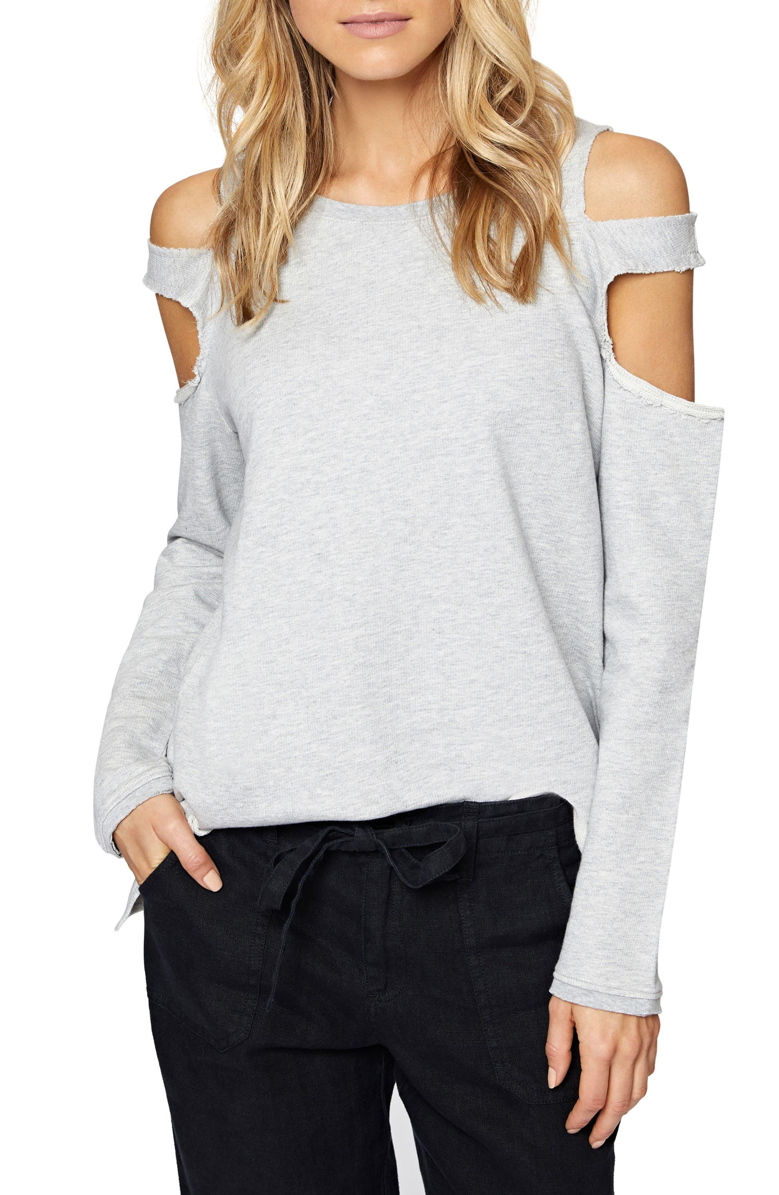 Park Slope Cold Shoulder Sweatshirt,                             Main thumbnail 1, color,                             Heather Grey