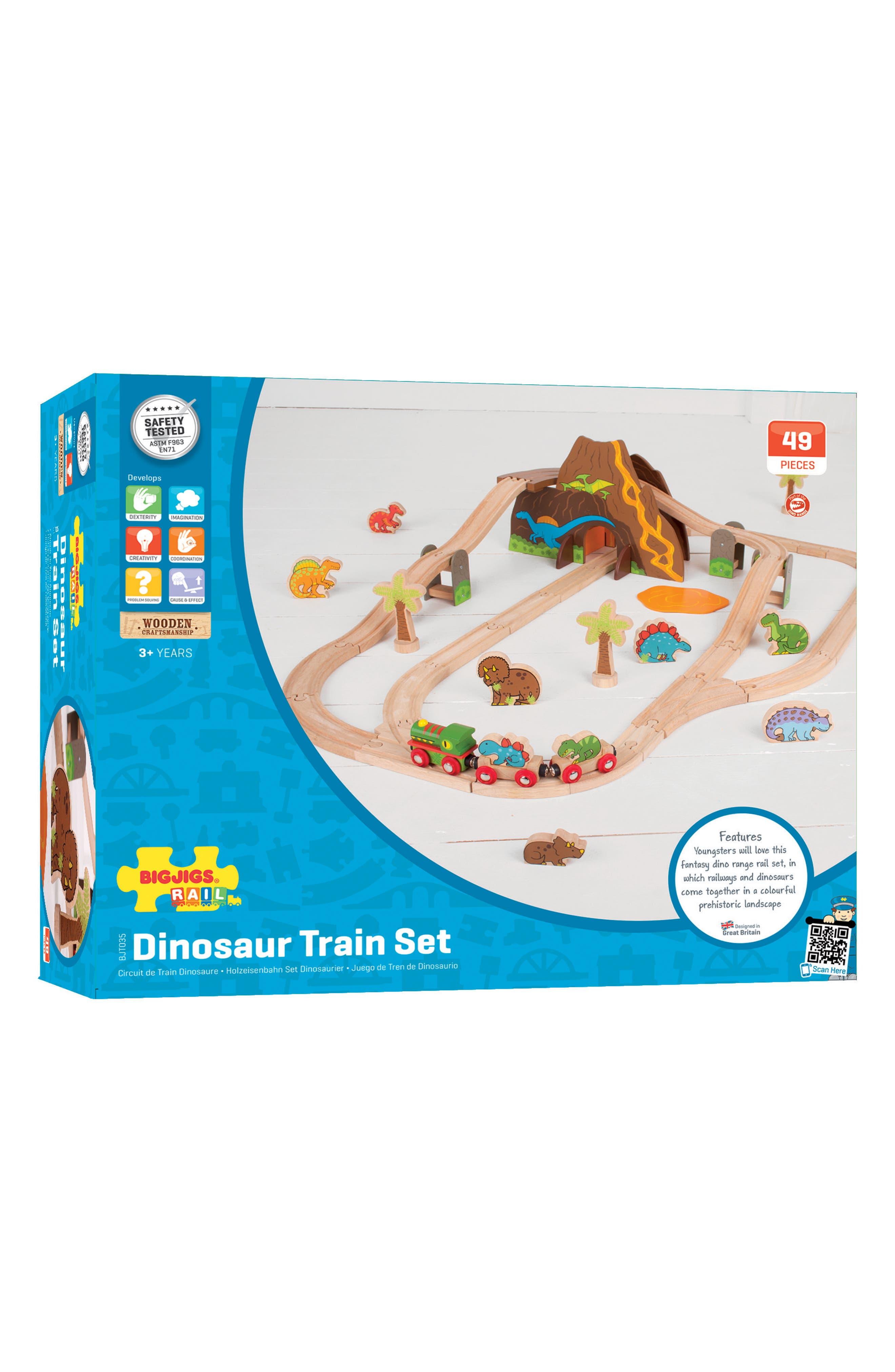 49-Piece Dinosaur Wooden Train Set,                             Alternate thumbnail 3, color,                             Brown