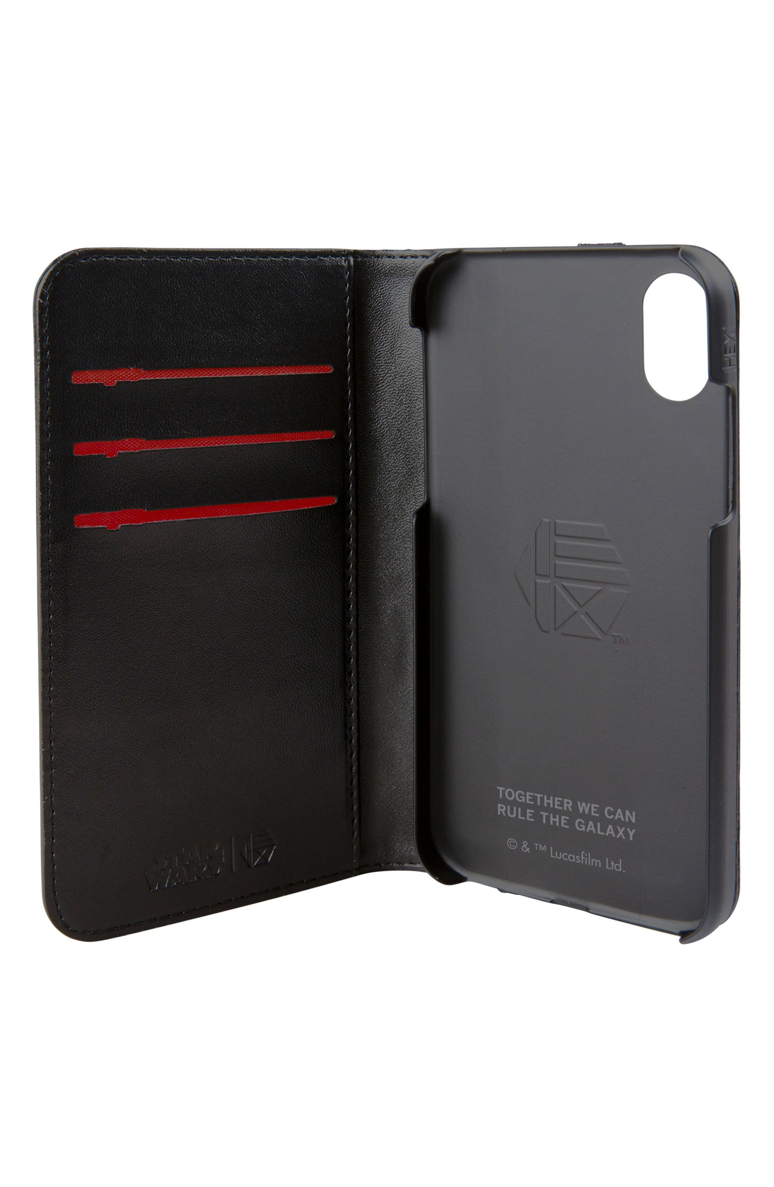 Darth Vader iPhone X Wallet Case,                             Alternate thumbnail 2, color,                             Black