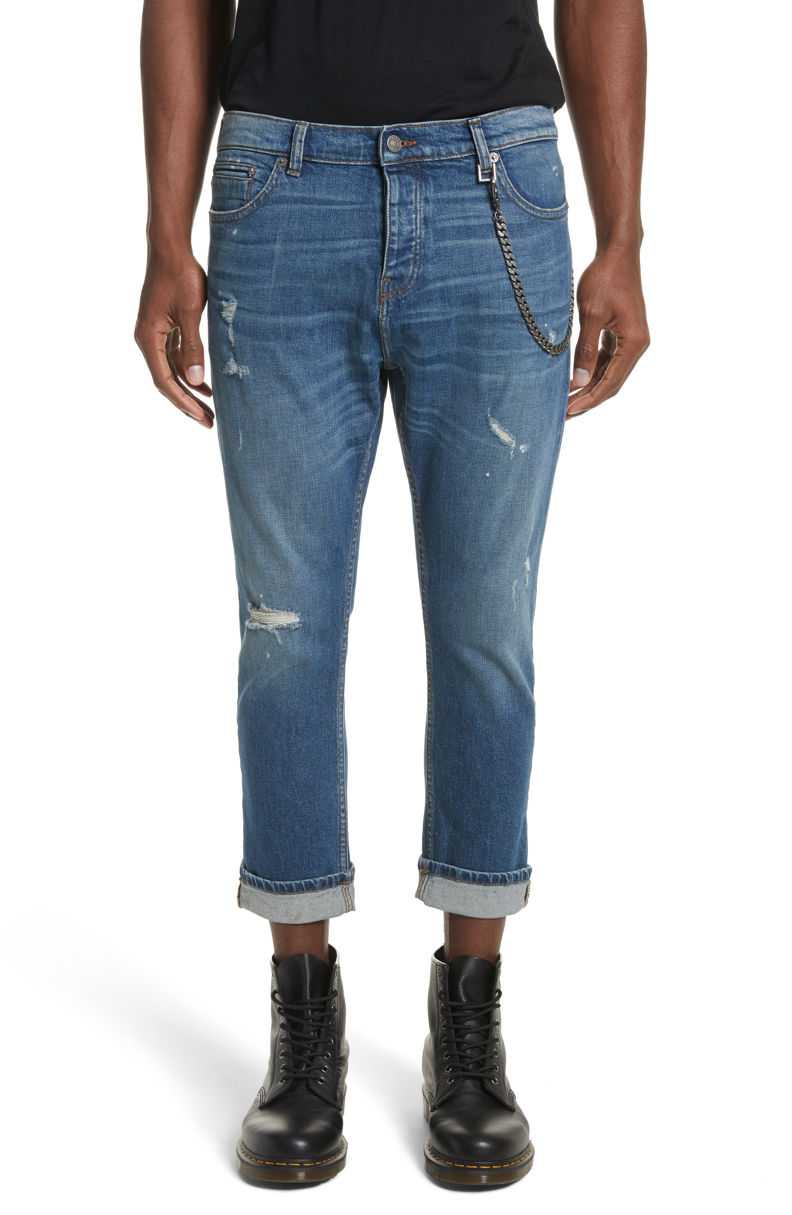 Cropped Jeans,                         Main,                         color, Blue