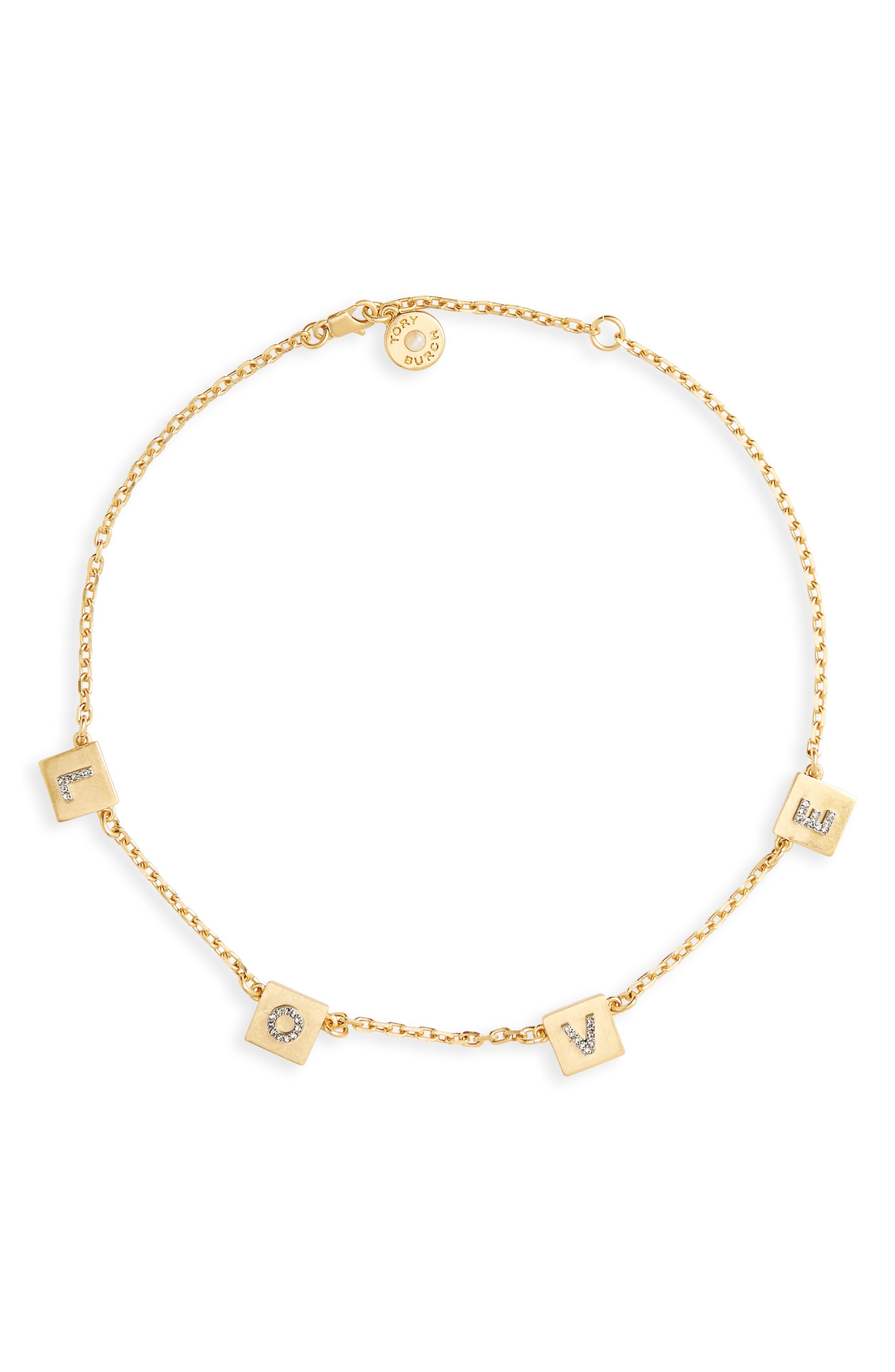 Love Message Collar Necklace,                         Main,                         color, Black Diamond/ Vintage Gold