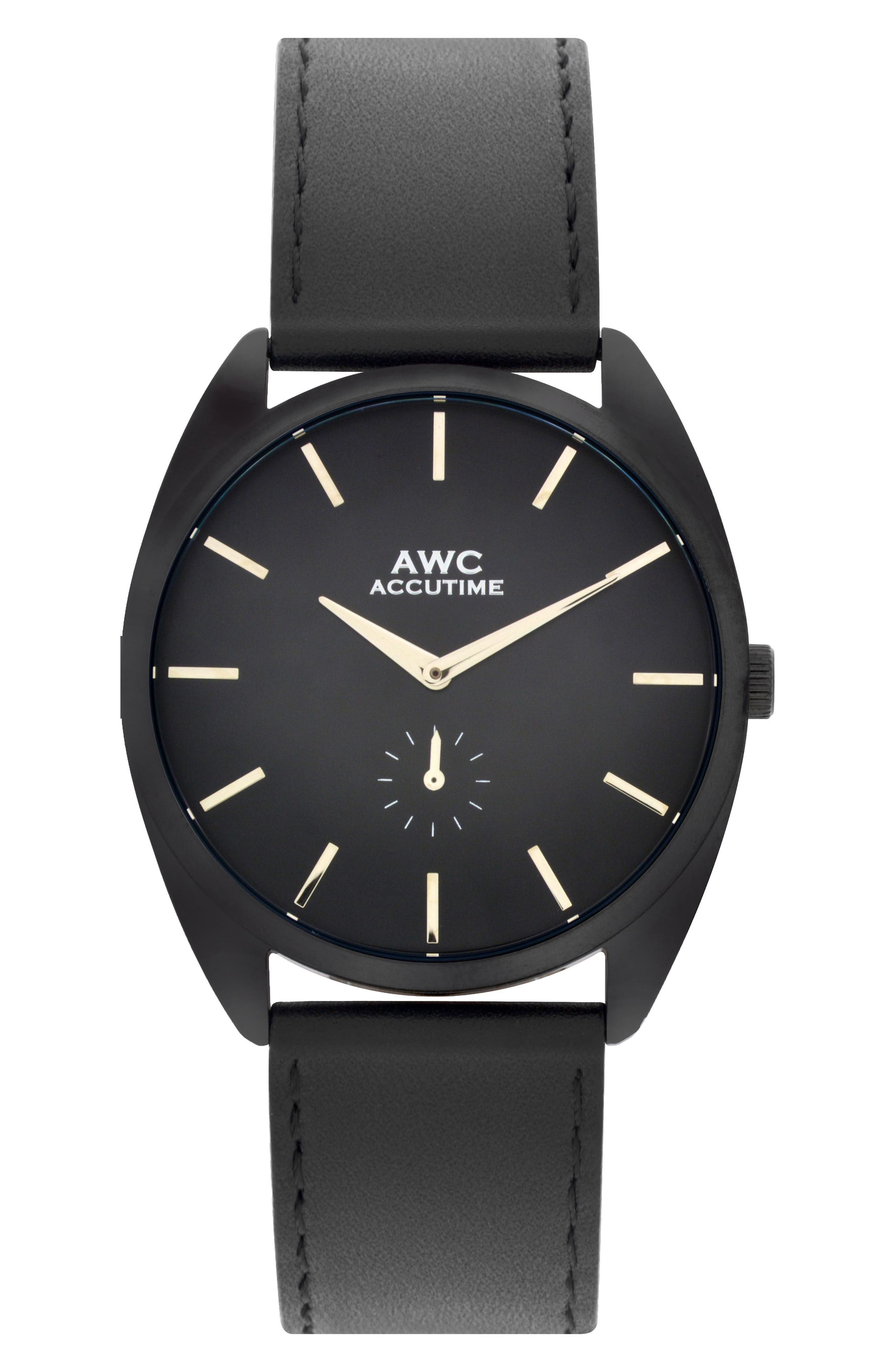 Subeye Leather Strap Watch, 45mm,                         Main,                         color, Black Out