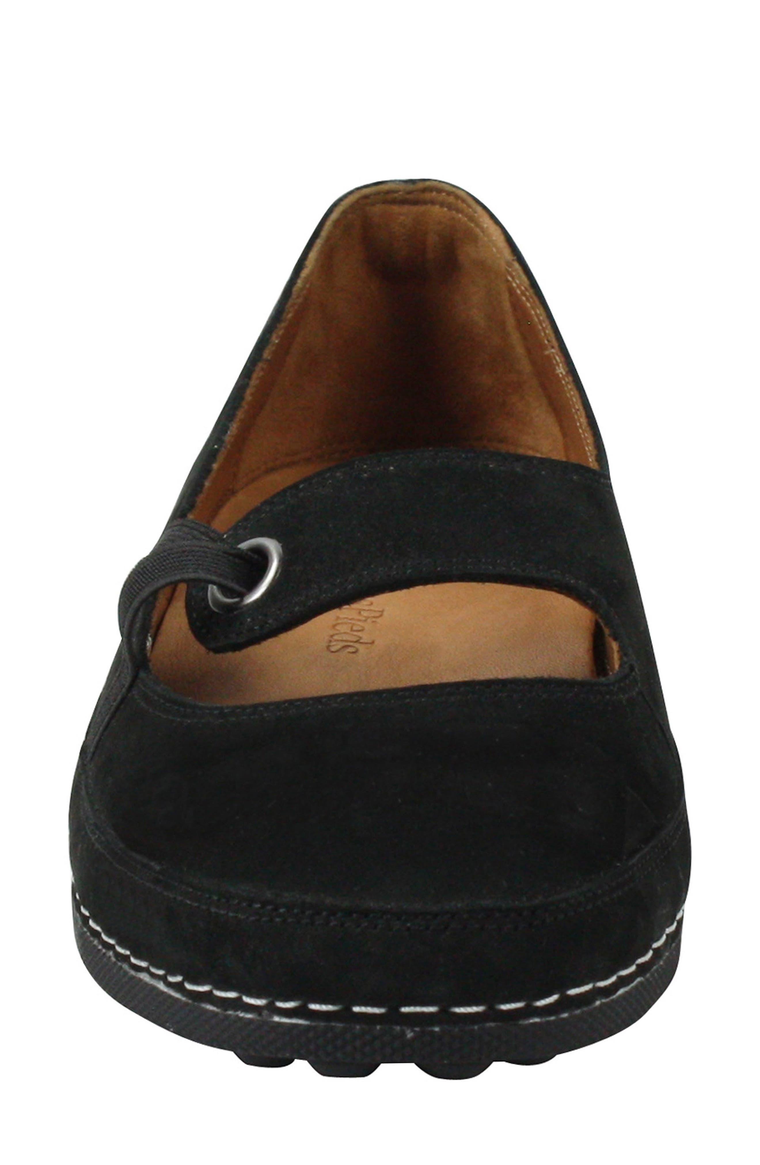 Denisse Mary Jane Flat,                             Alternate thumbnail 4, color,                             Black Nubuck Leather