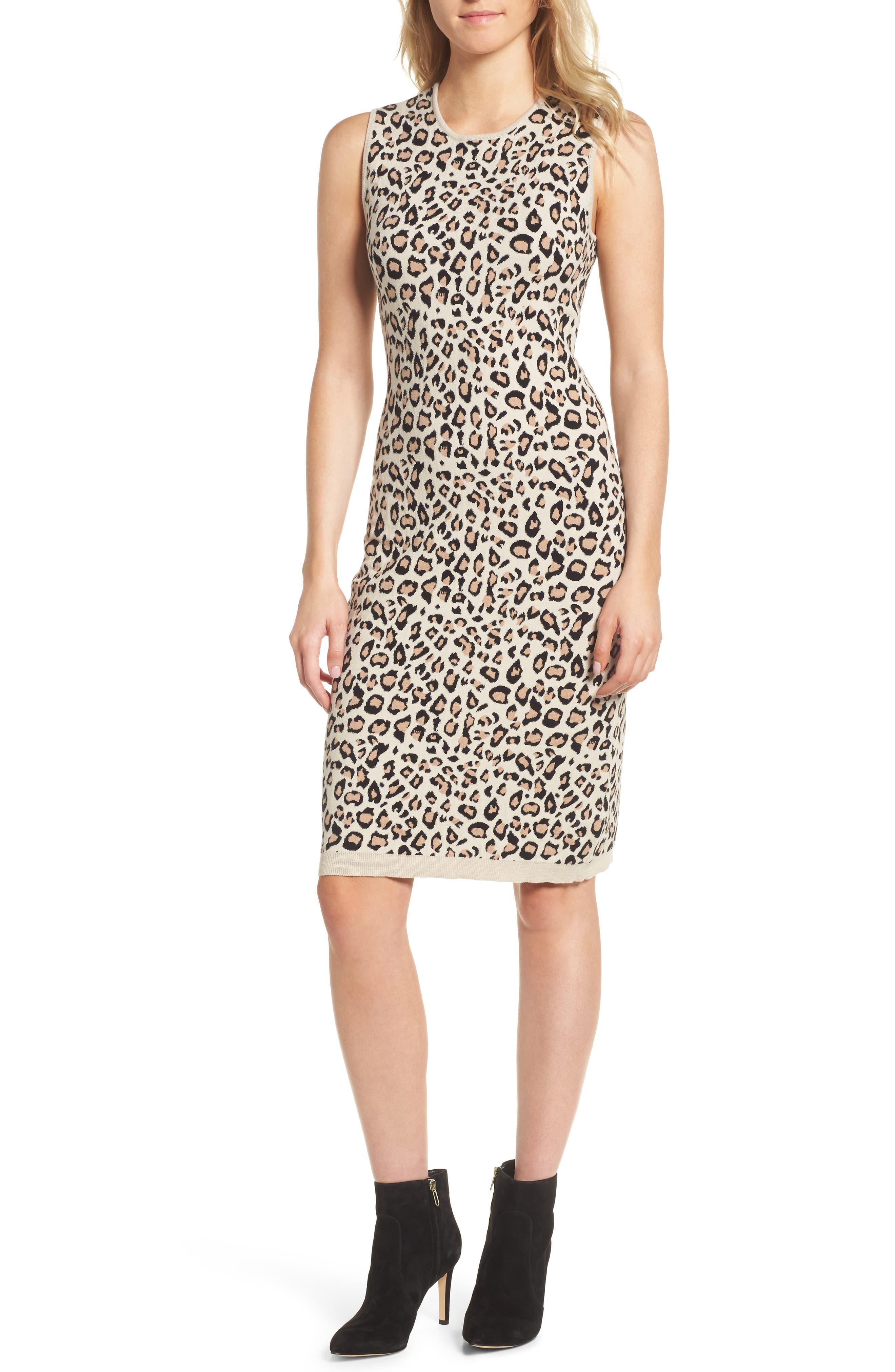 Sutter Body-Con Dress,                             Main thumbnail 1, color,                             Leopard